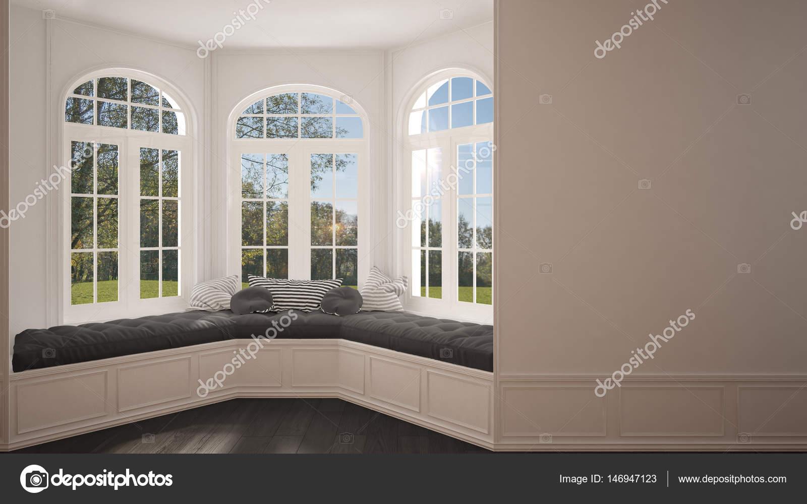 Groot raam met tuin weide panorama minimalistische lege ruimte