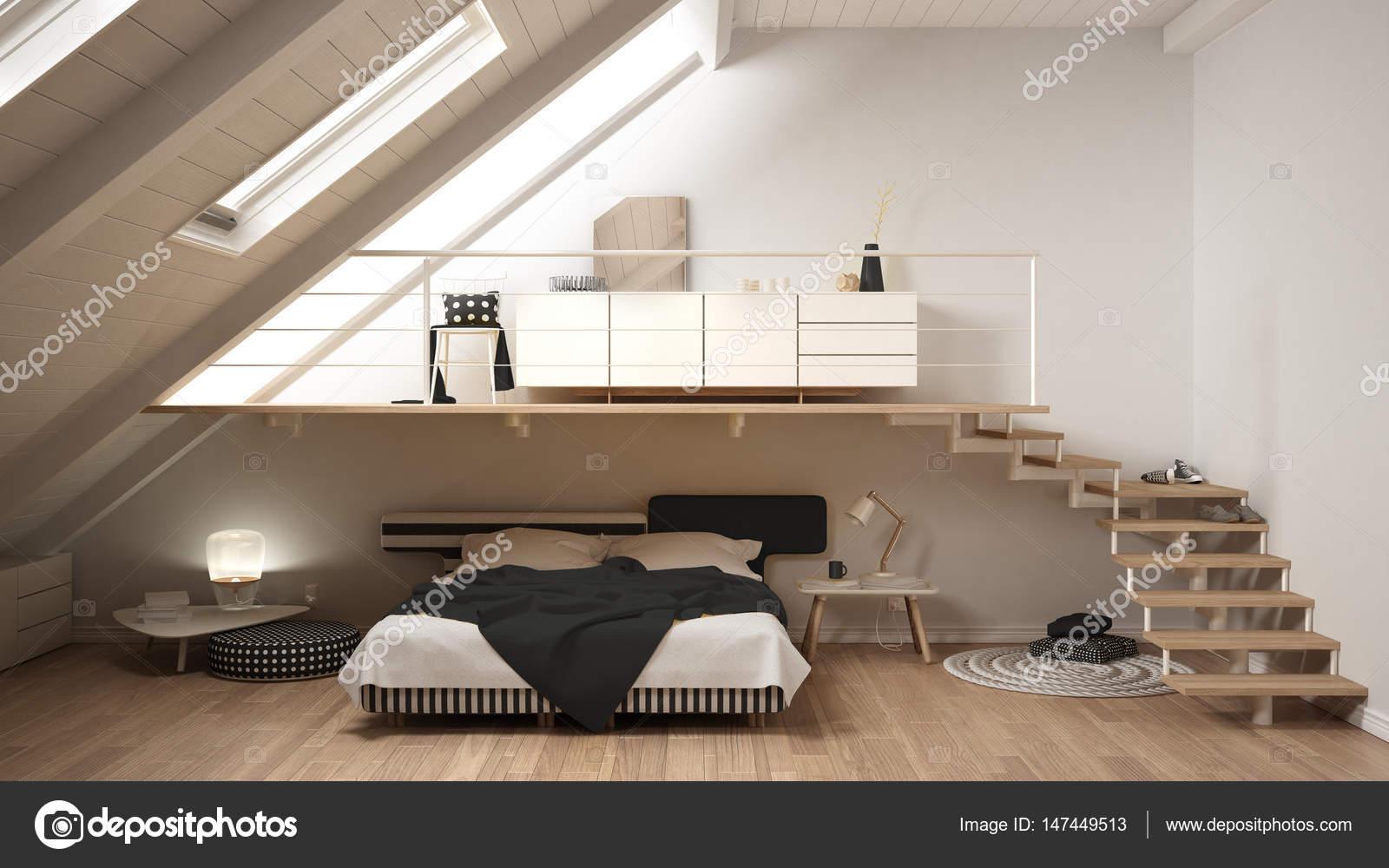 Classico di loft soppalco camera da letto minimalista ...