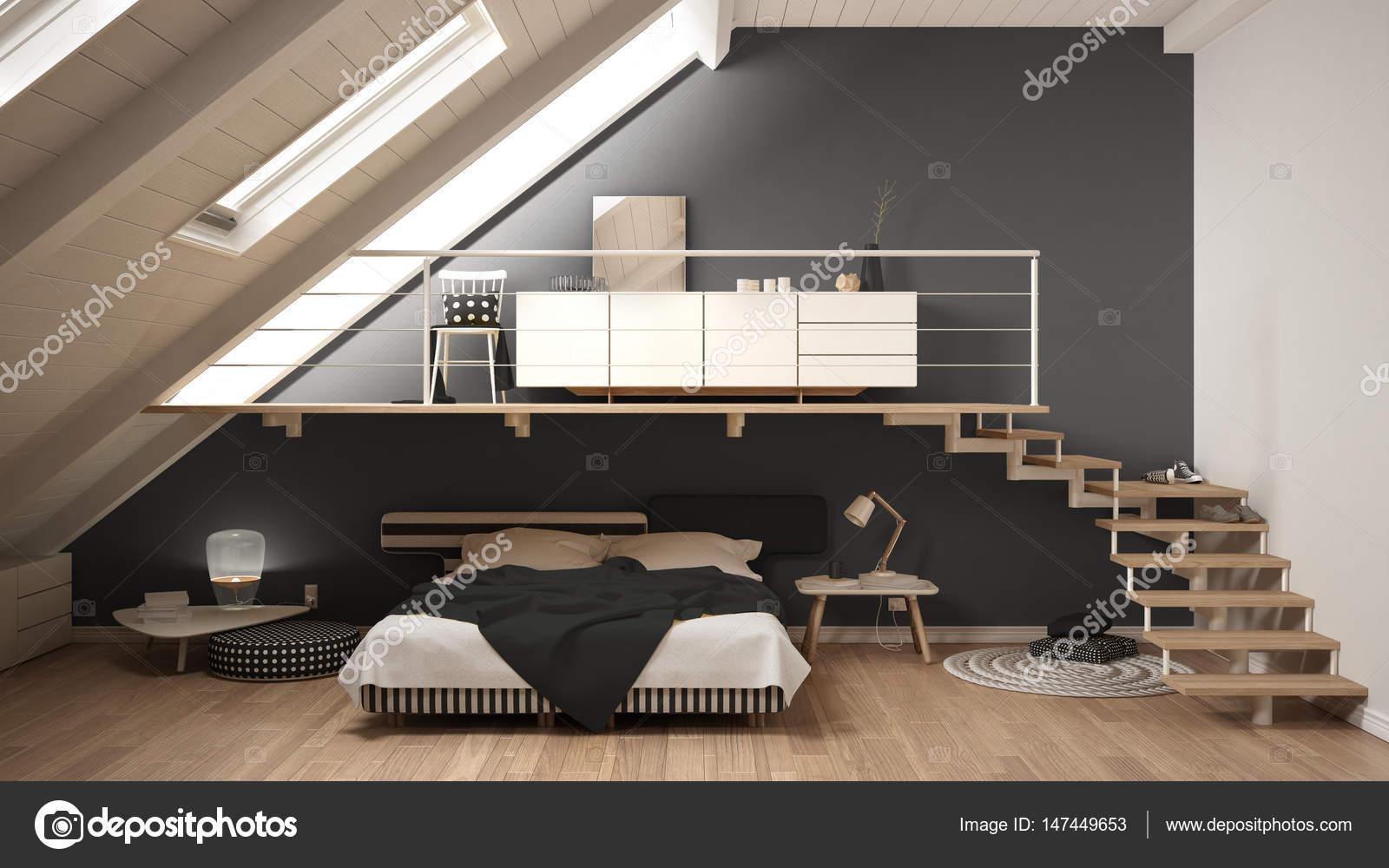 Loft soppalco camera da letto minimalista scandinavo, grigio ...