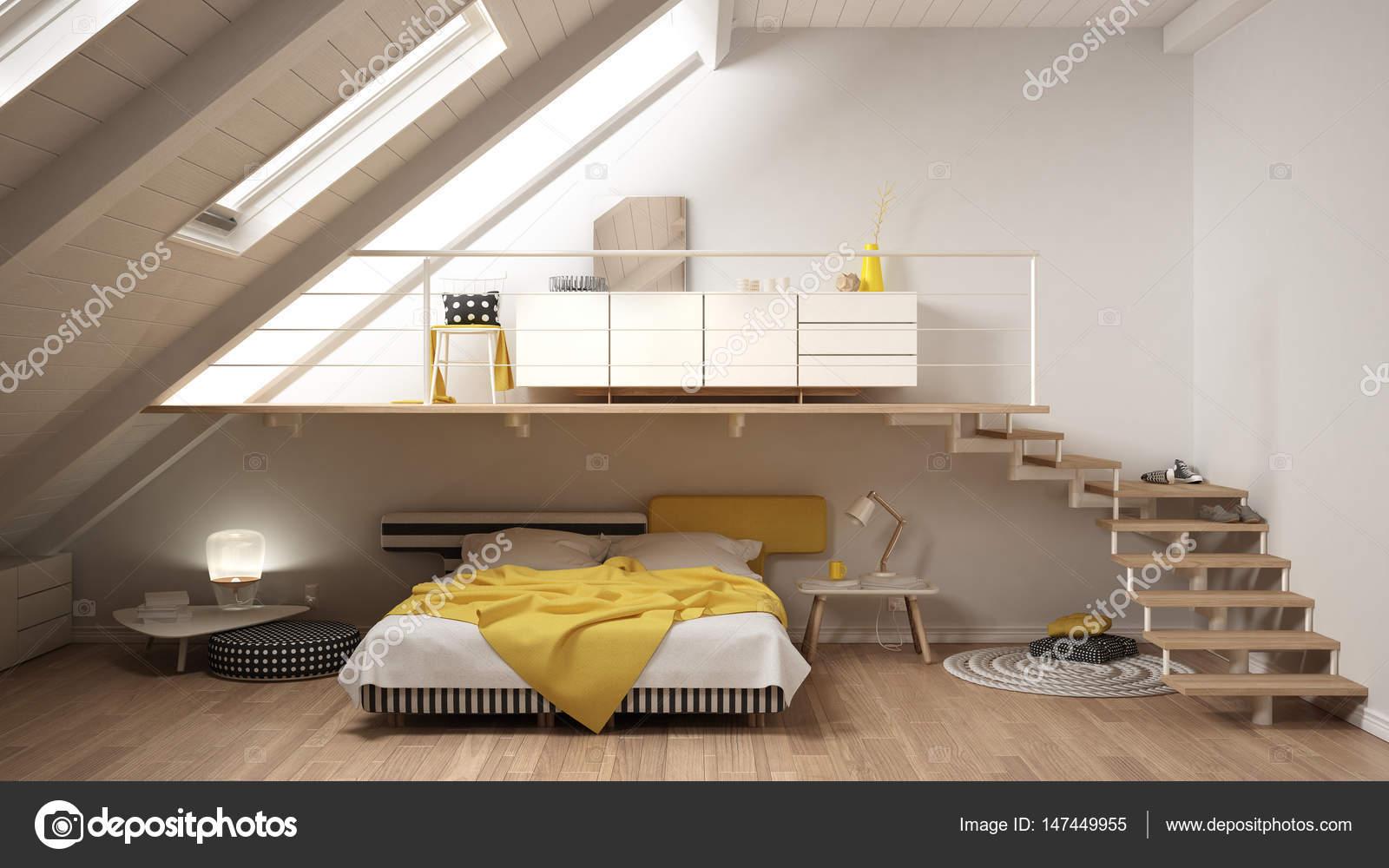 Loft minimalista scandinavo soppalco camera da letto, bianco e ...