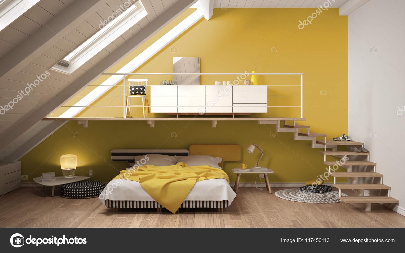 Loft scandinavo minimalista camera da letto soppalco, colorato ...