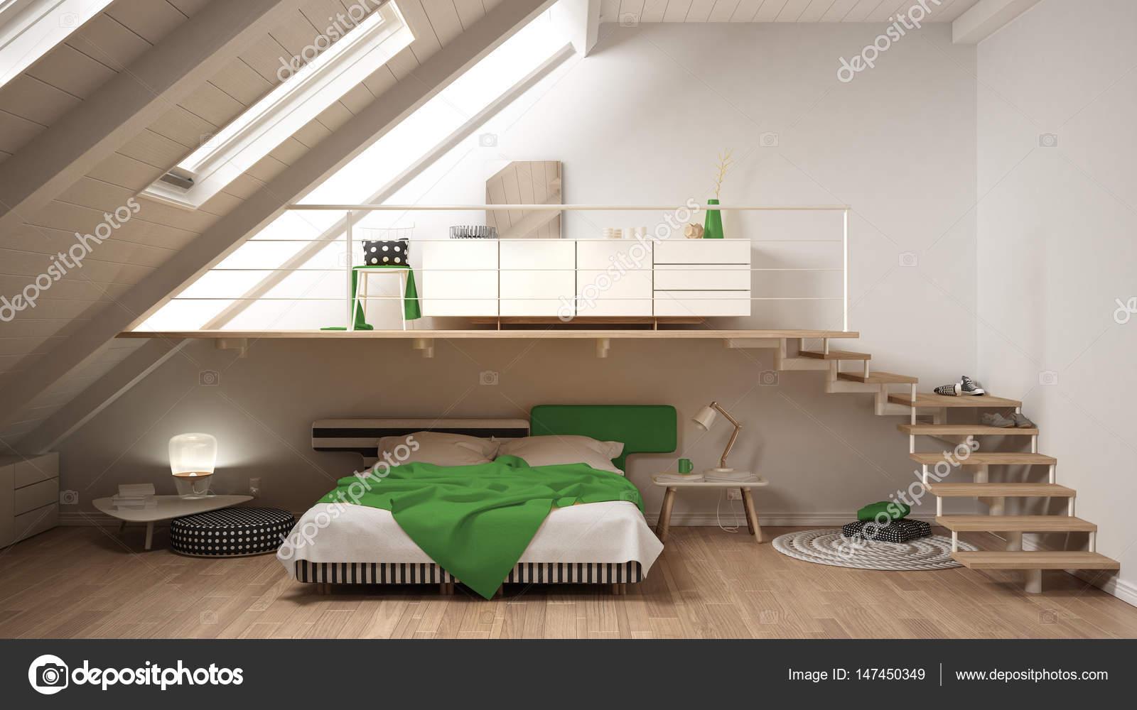 Loft minimaliste scandinaves mezzanine chambre, blanc et vert ...