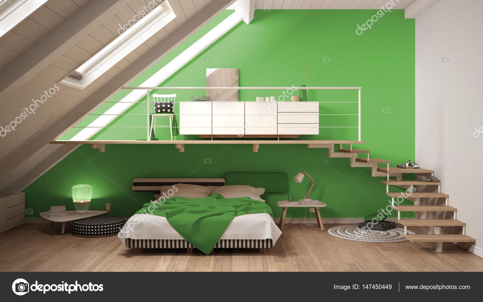 Mezzanine Skandynawskich Minimalistyczny Sypialnią Na