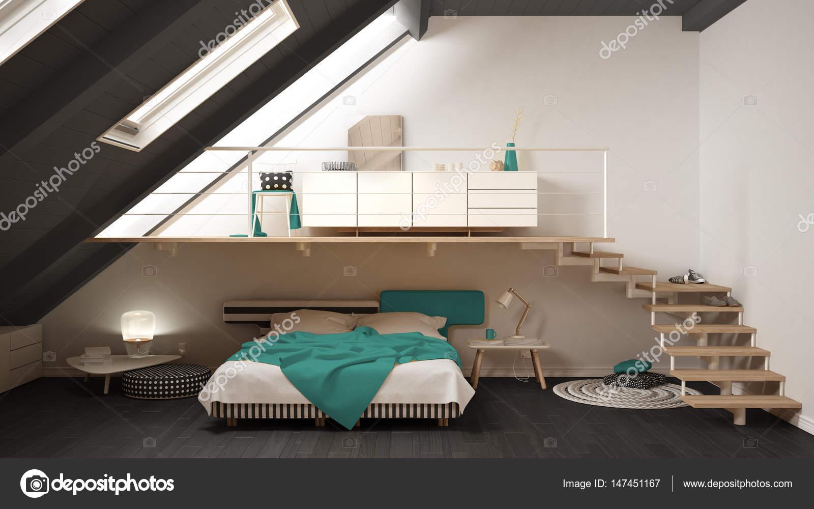 Camere Da Letto Turchese : Camera da letto minimalista a loft soppalco scandinavo turchese e
