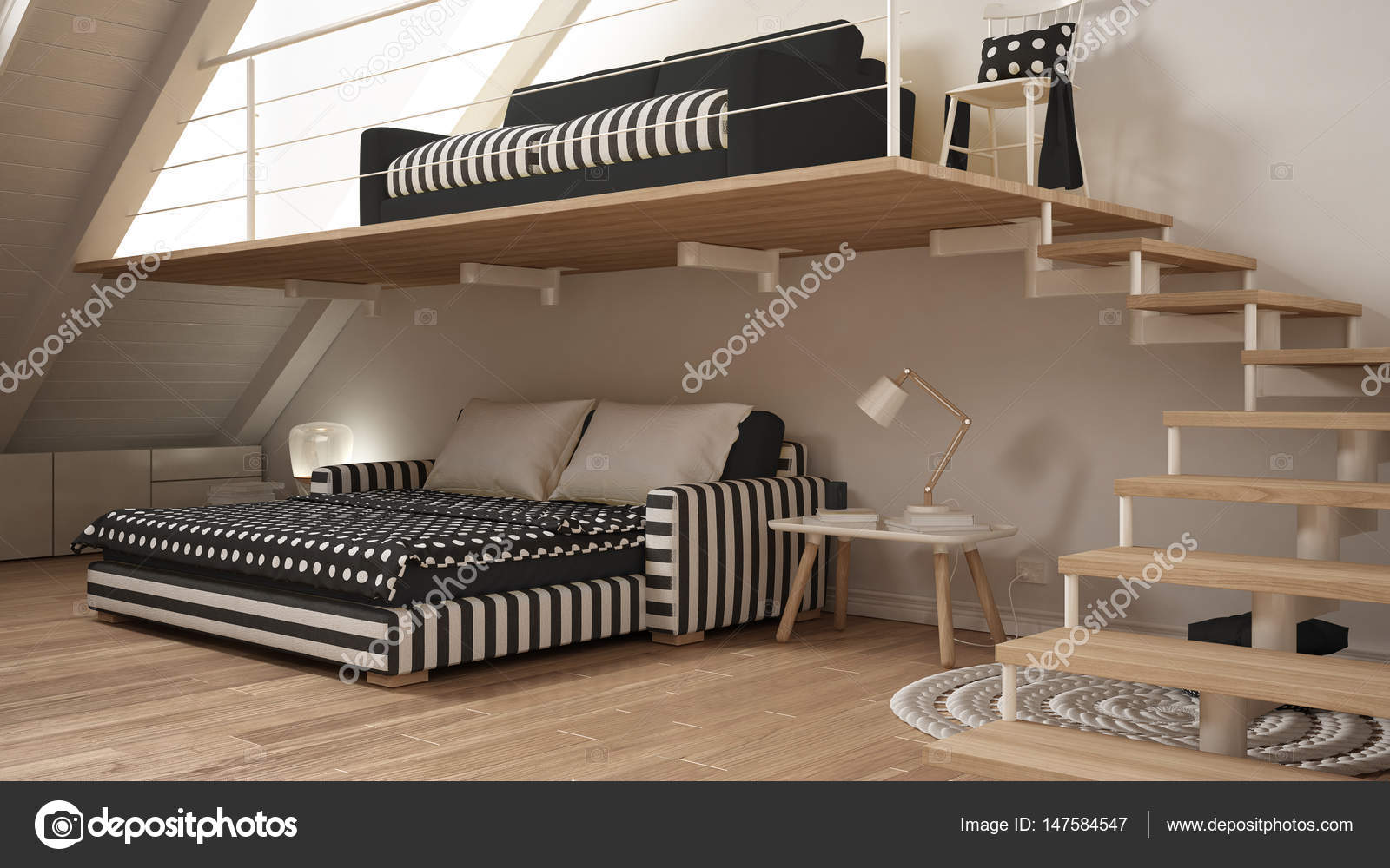 Loft mezzanine één kamer minimalistische woon en slaapkamer wit en