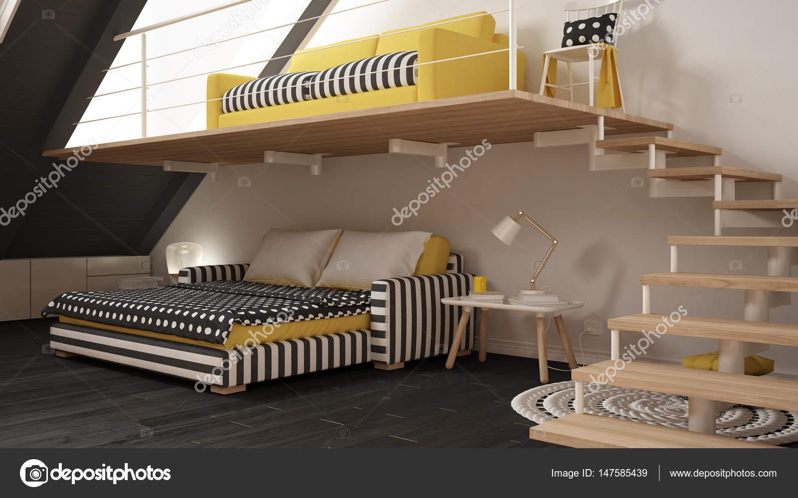 Loft mezzanine une chambre minimaliste vivants et chambre à coucher ...
