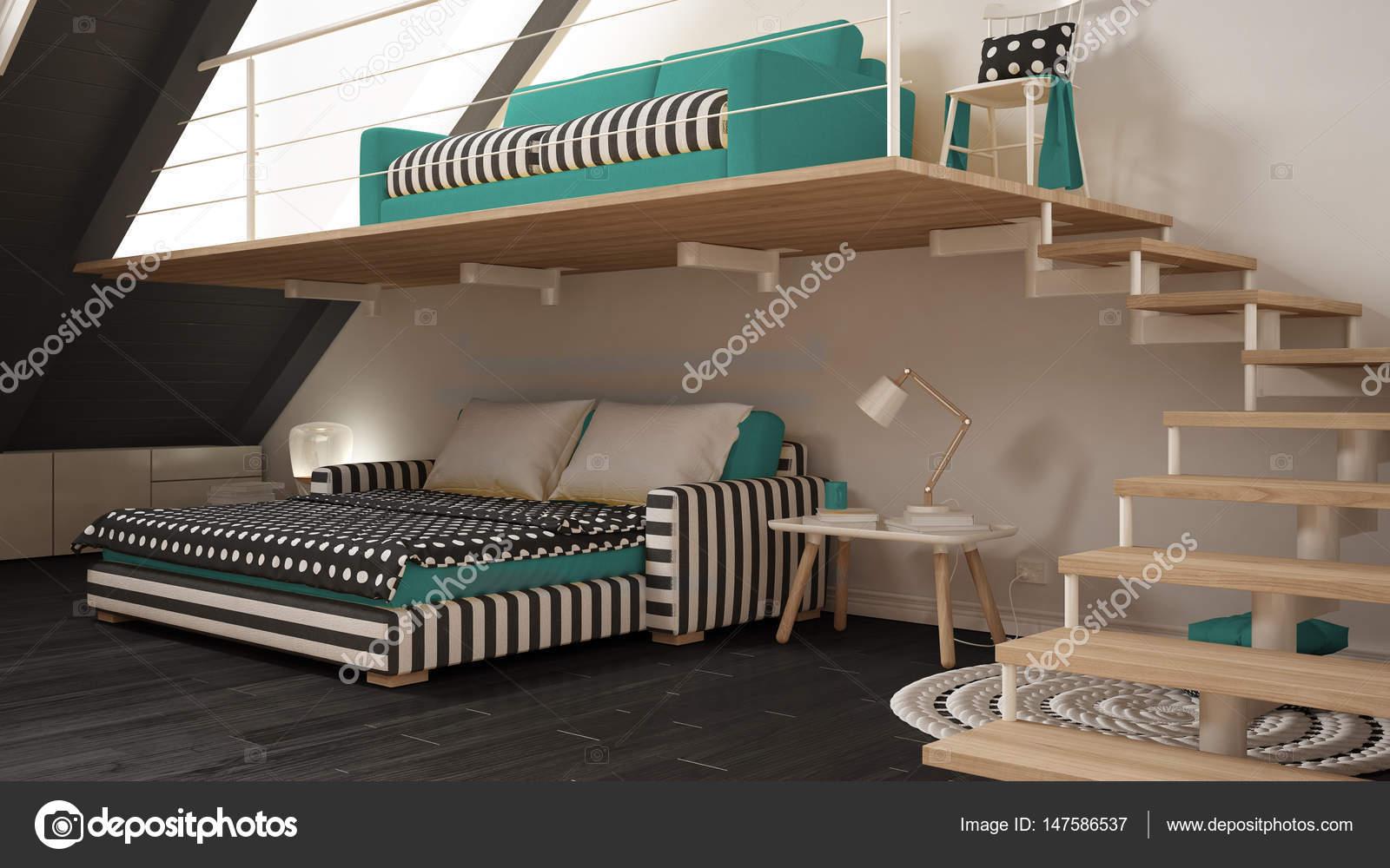 Loft Mezzanine Zimmer Minimalistisch Leben Und Schlafzimmer, Weiß Und Türkis  Skandinavisches Interior Design U2014 Foto Von ArchiVIz