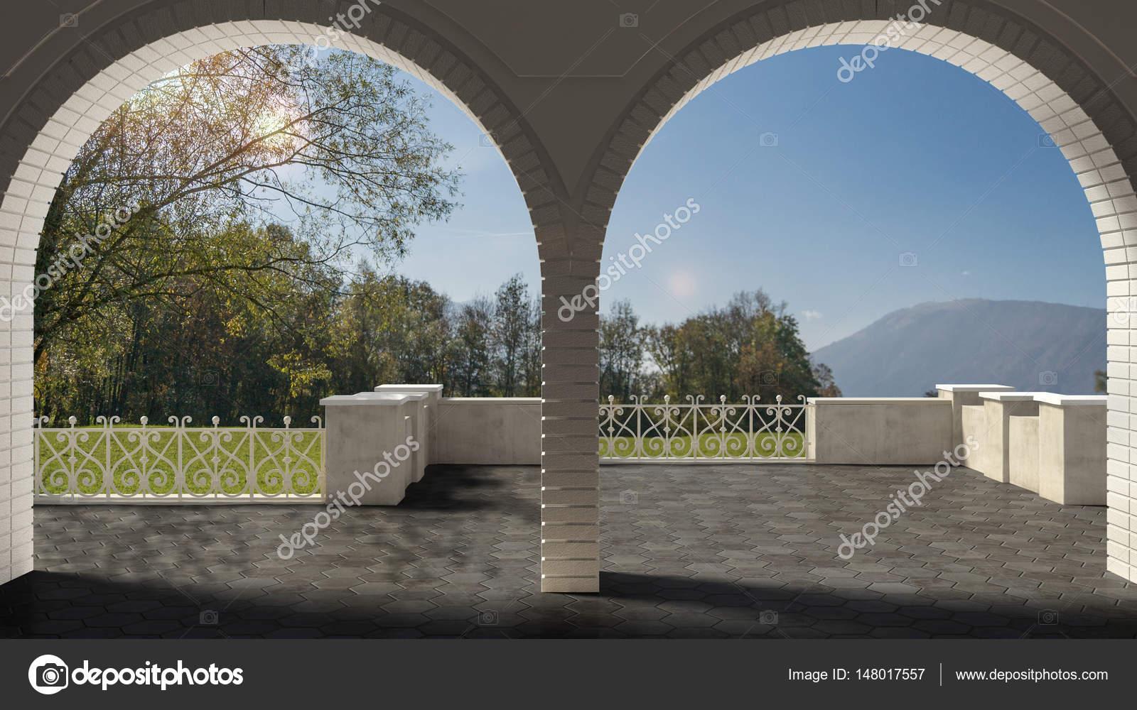 Terrazzo vuoto classico con arco di ringhiera e arenaria di ferro ...