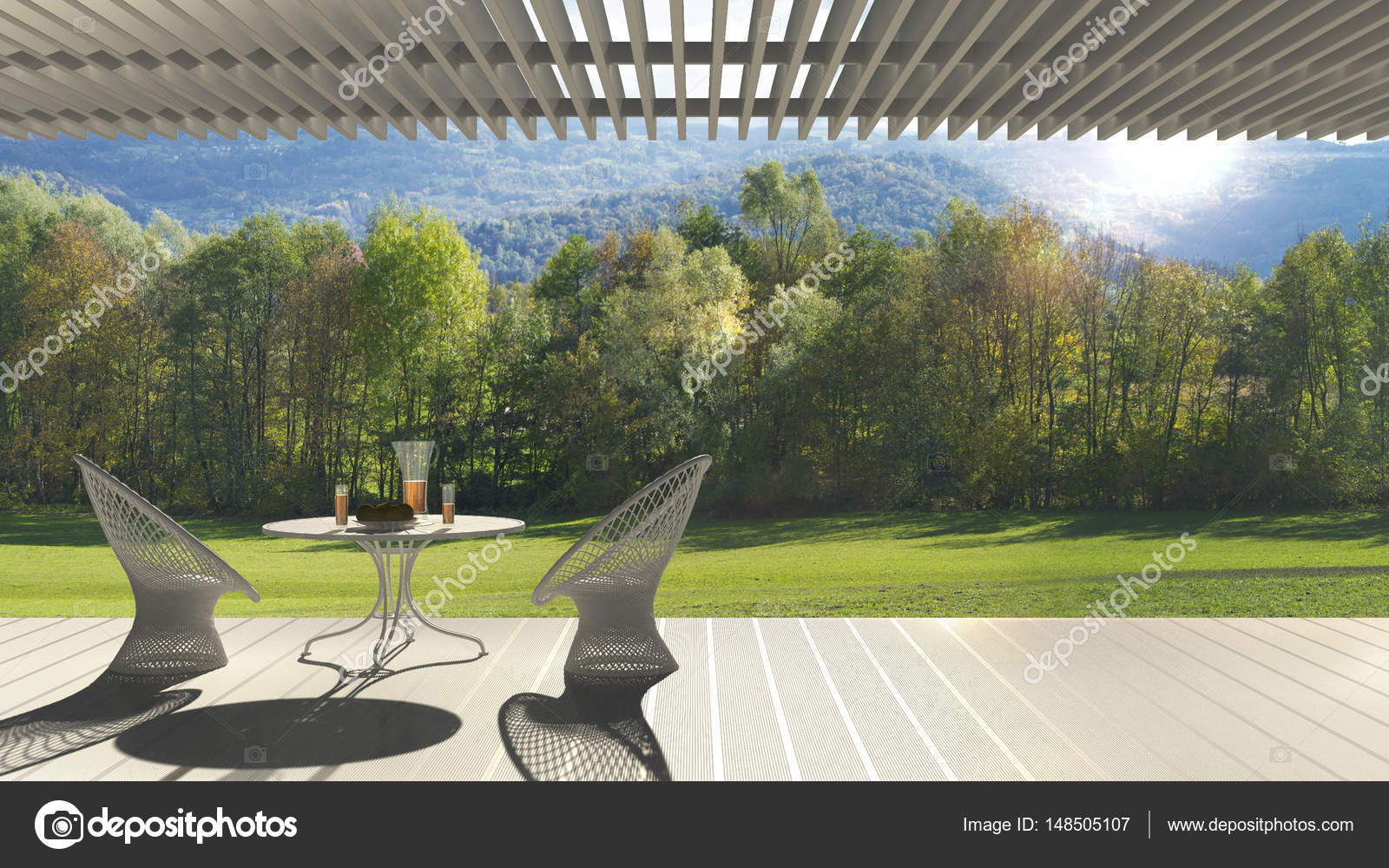 Minimalistisch modern terras met relax ruimte fauteuils en tabel