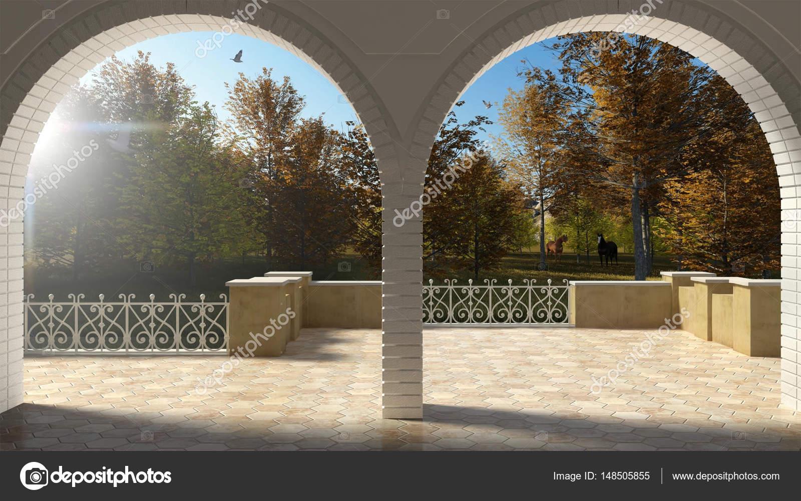 Vacío Terraza Clásica Con Arco De Hierro Forjado Barandilla