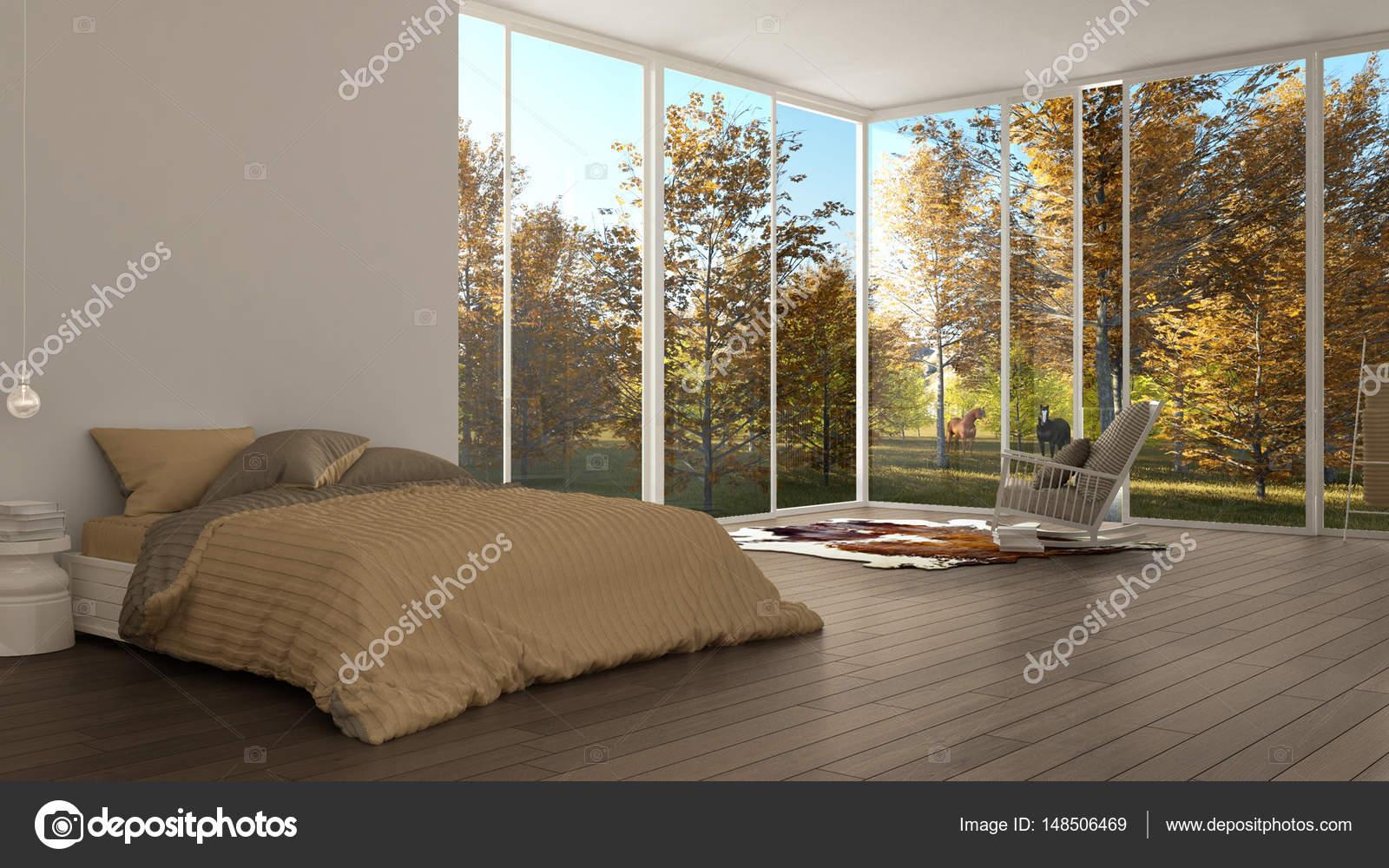 Klassieke slaapkamer minimalistische witte interieur grote ramen w