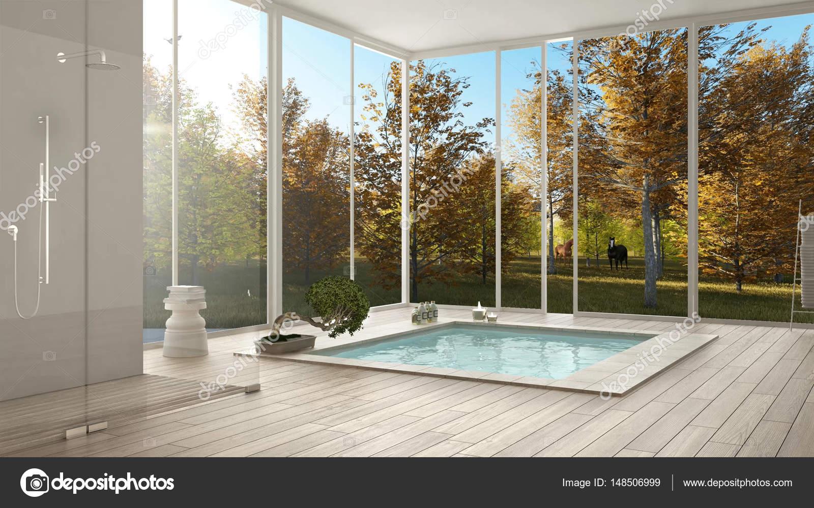 Scandinavische badkamer witte minimalistische interieur grote