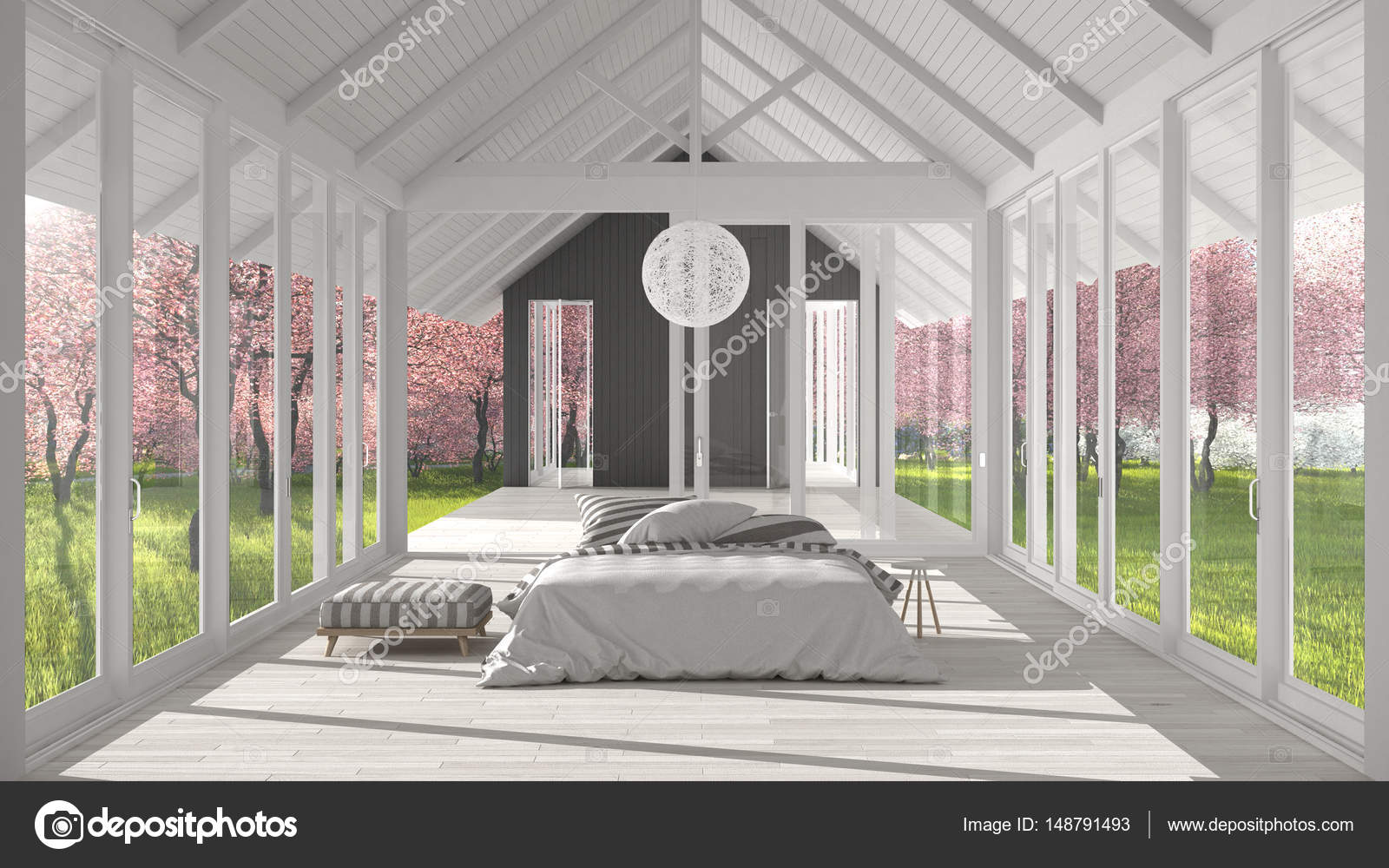 Glas In Slaapkamer : Minimalistische slaapkamer met grote ramen glas en terras o