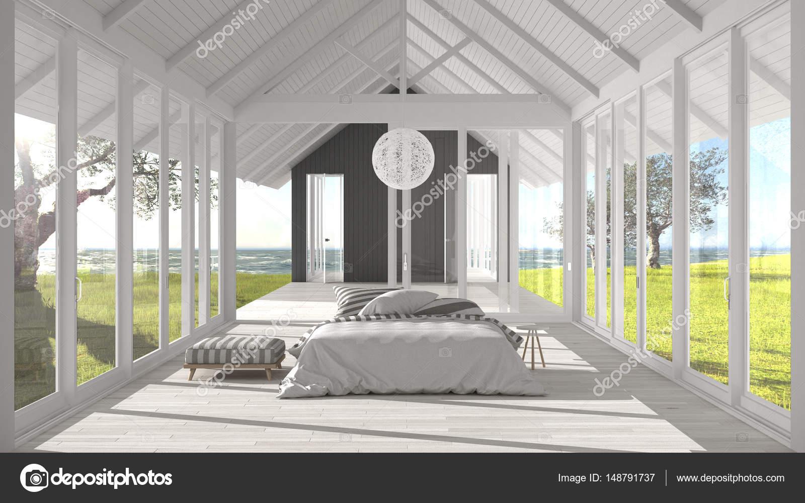 Minimalistische slaapkamer met grote ramen glas en terras o