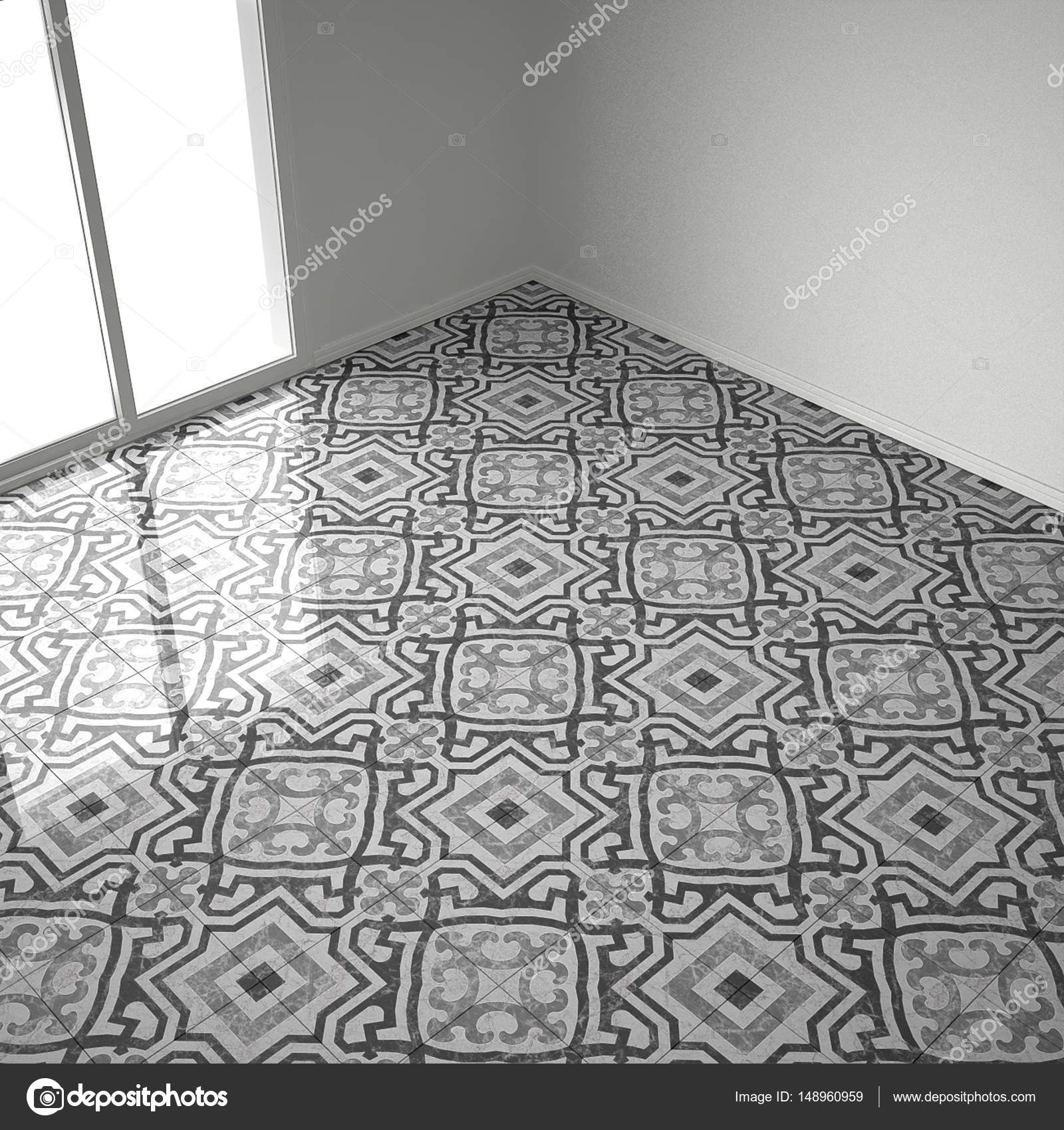 Gray And White Marble Floor Tiles In Empty Room With Big Window