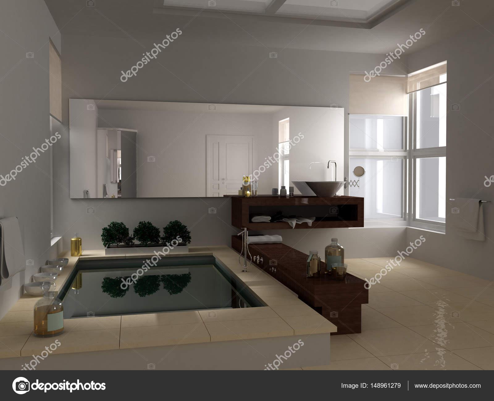 Minimalistische Badezimmer Mit Großer Badewanne Innendesign Des
