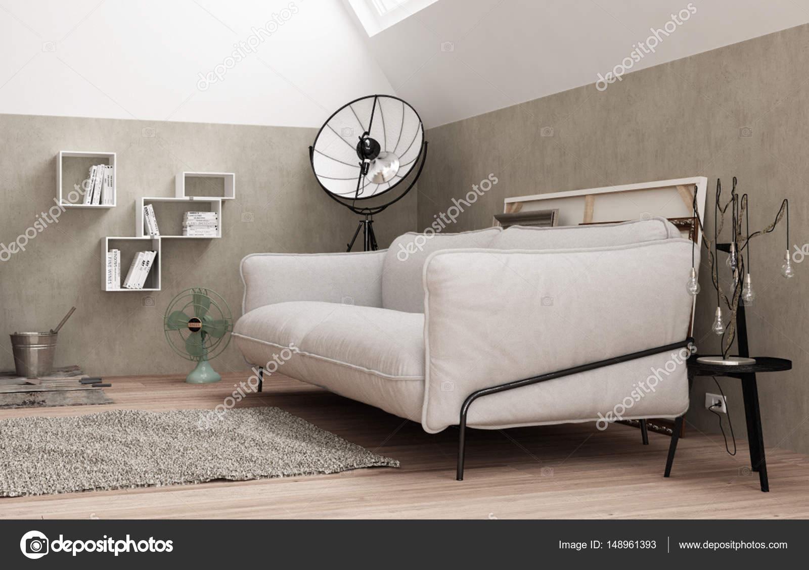 Woonkamer Vintage Bank : Vintage loft woonkamer met witte bank modern interieur u2014 stockfoto