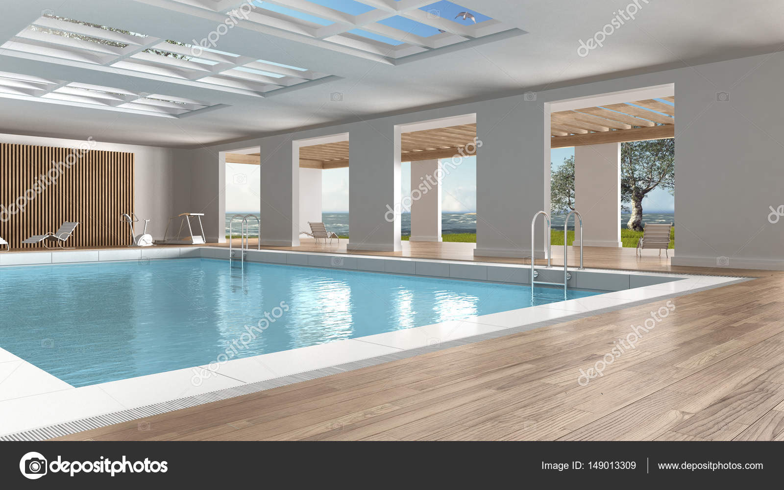 Interieur van zwembad binnenshuis met groot panoramisch venster