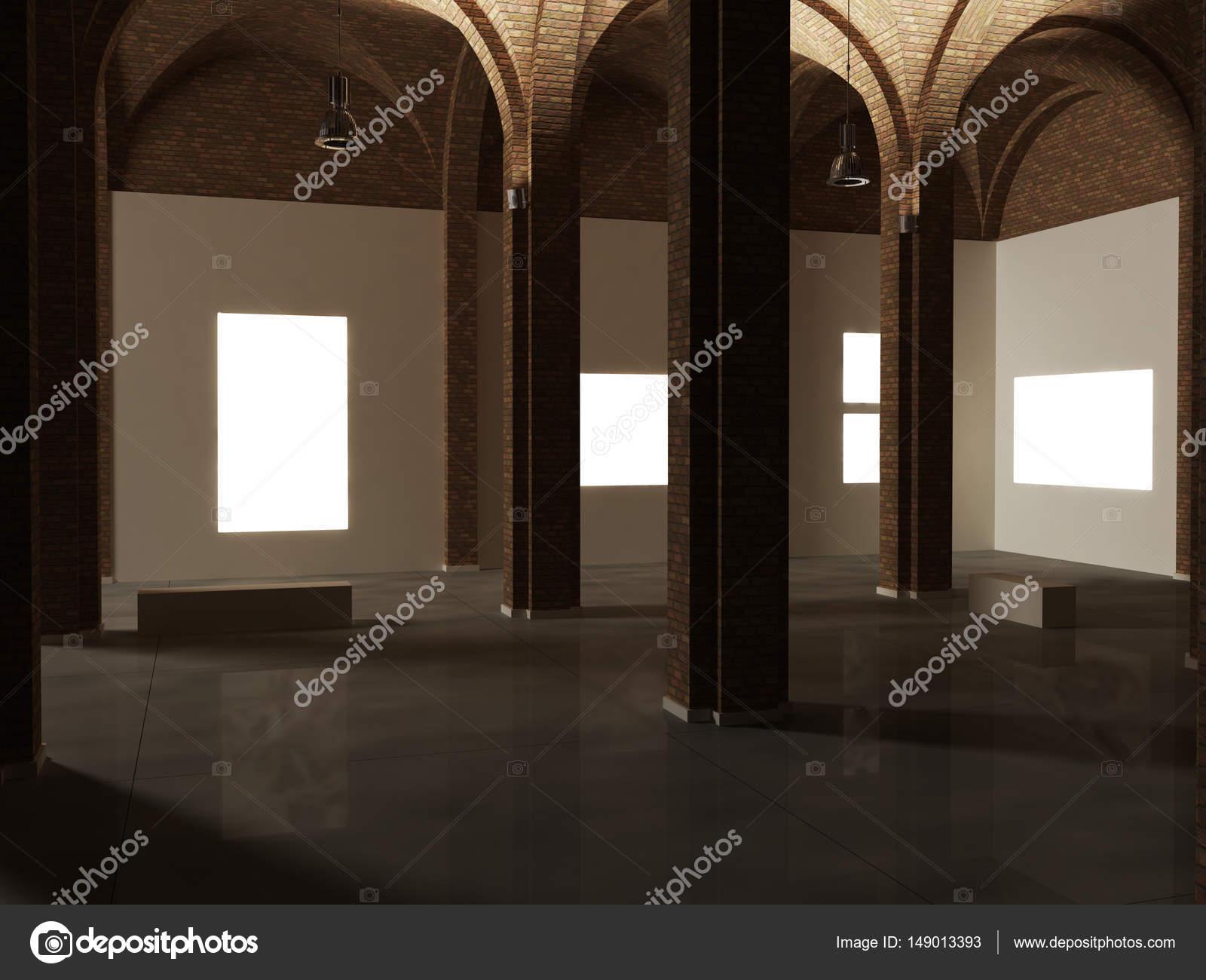 Museum-Innenarchitektur, Expo, Kunstwerk mock-up — Stockfoto ...