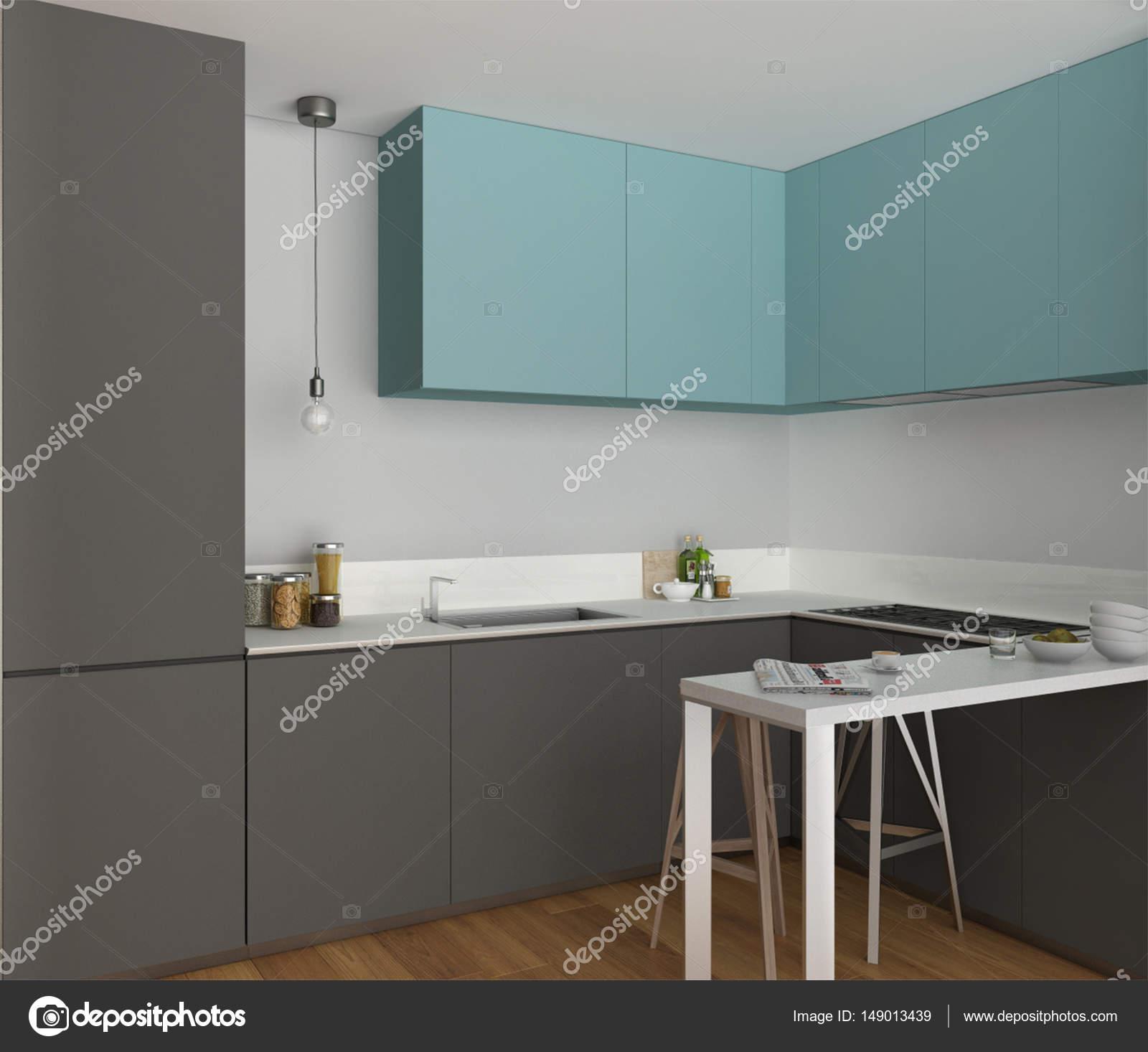 Küche mit Insel und Hocker, minimalistischen Innenarchitektur ...