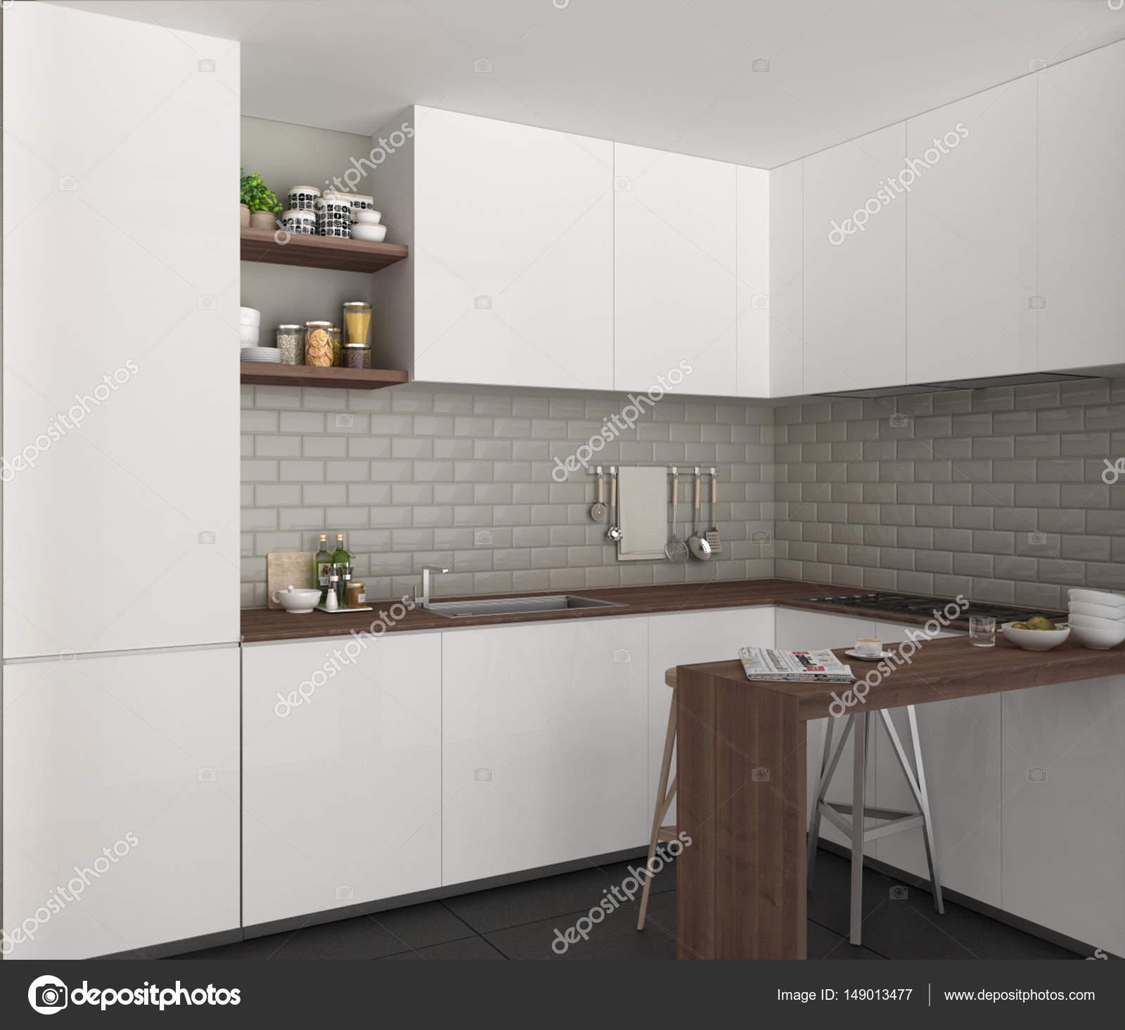 Cozinha Com Ilha E Banquinhos Design Interior Minimalista