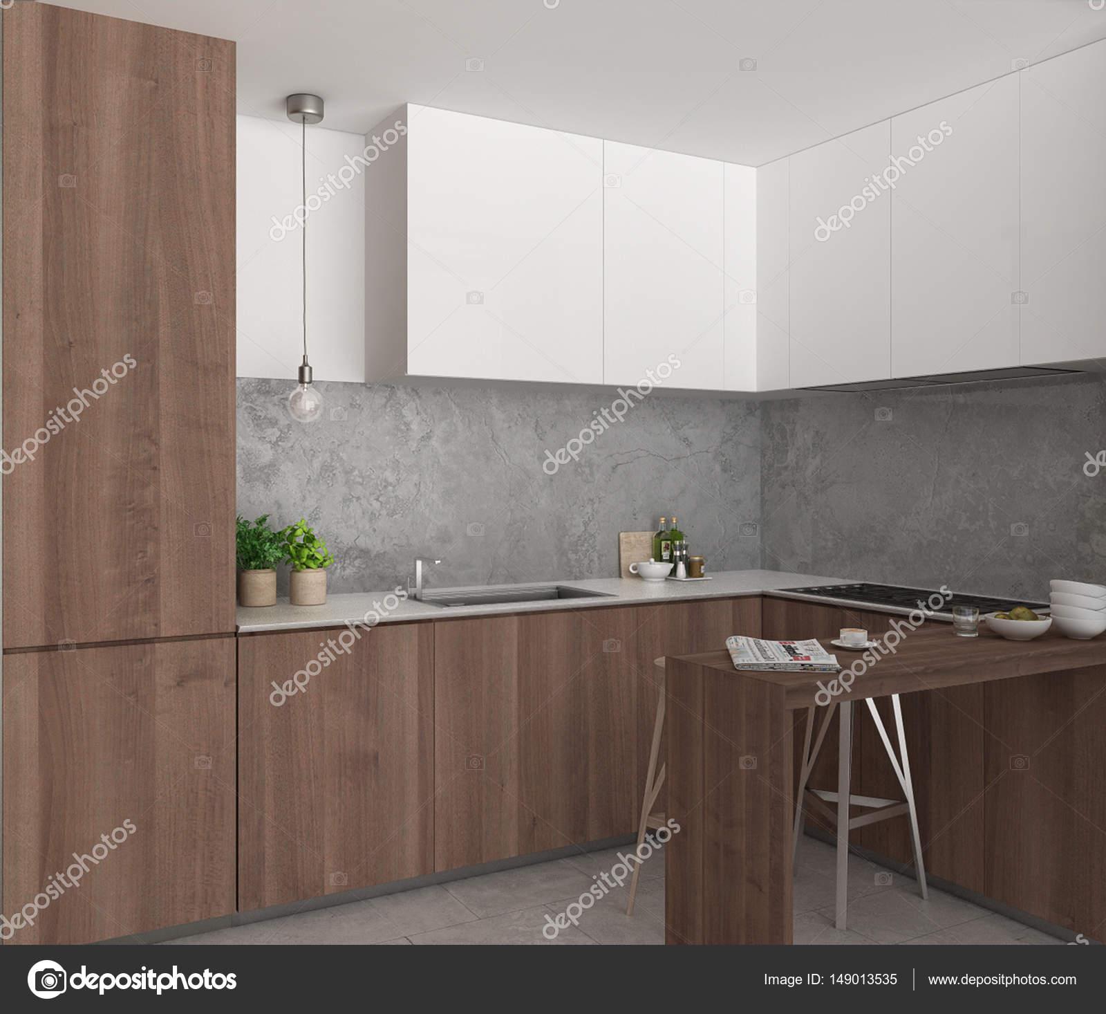 Cocina con isla y taburetes, diseño interior minimalista — Fotos de ...