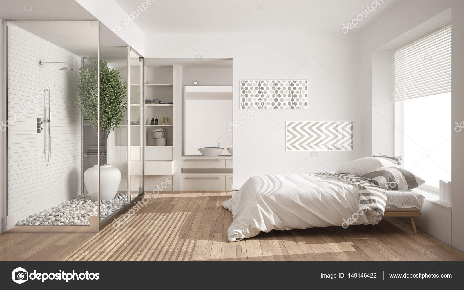 Minimalist bedroom and bathroom with shower and walk-in closet ...