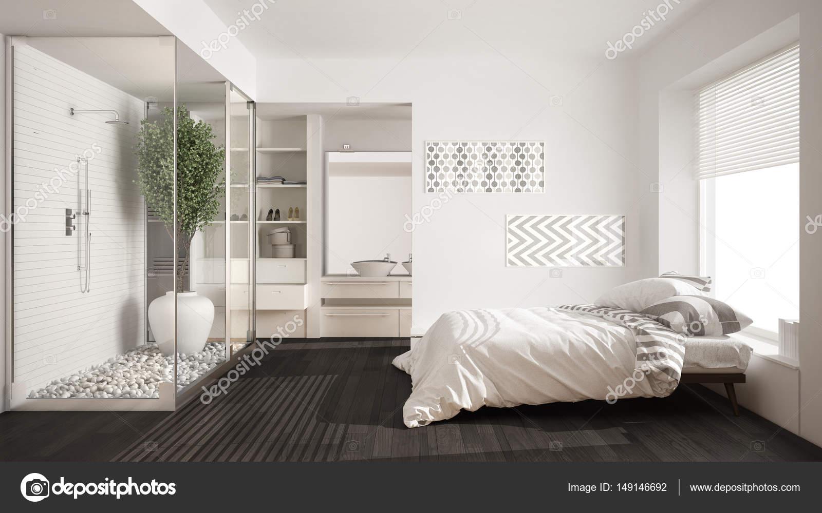 Immagini Di Camere Da Letto Con Cabina Armadio : Camera da letto minimalista e bagno con doccia e cabina armadio