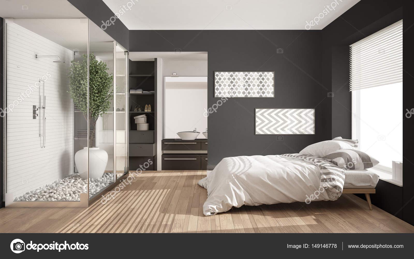 Minimalistische Schlafzimmer und Badezimmer mit Dusche und ...