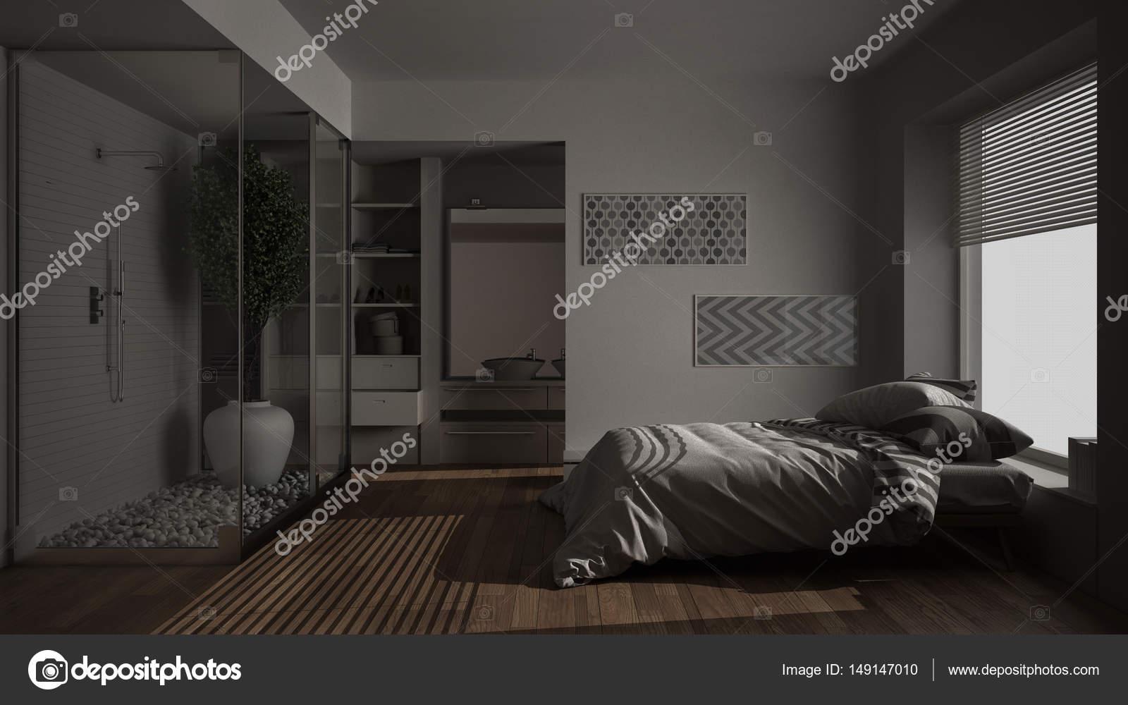Camera da letto minimalista e bagno con doccia e cabina armadio ...