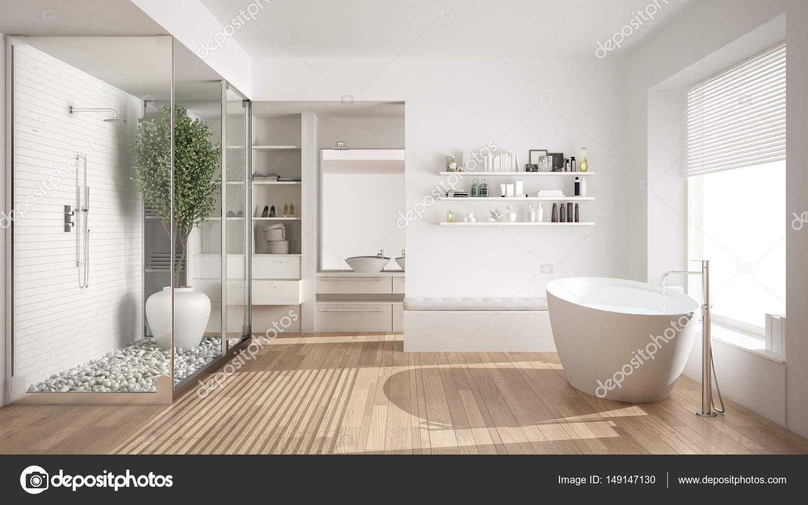 Minimalist white scandinavian bathroom with walk-in closet, clas ...