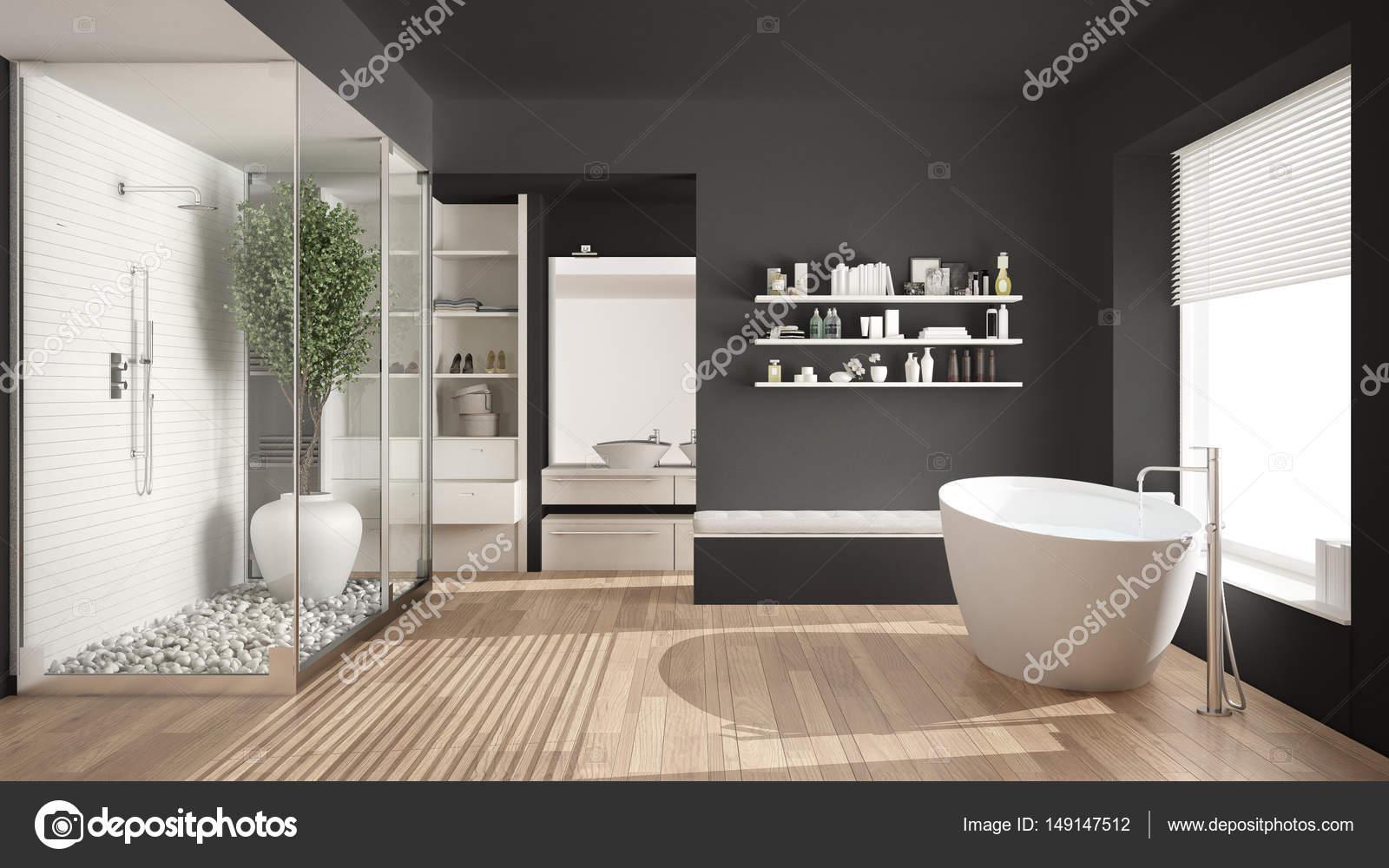 Minimaliste gris scandinave salle de bains avec dressing ...