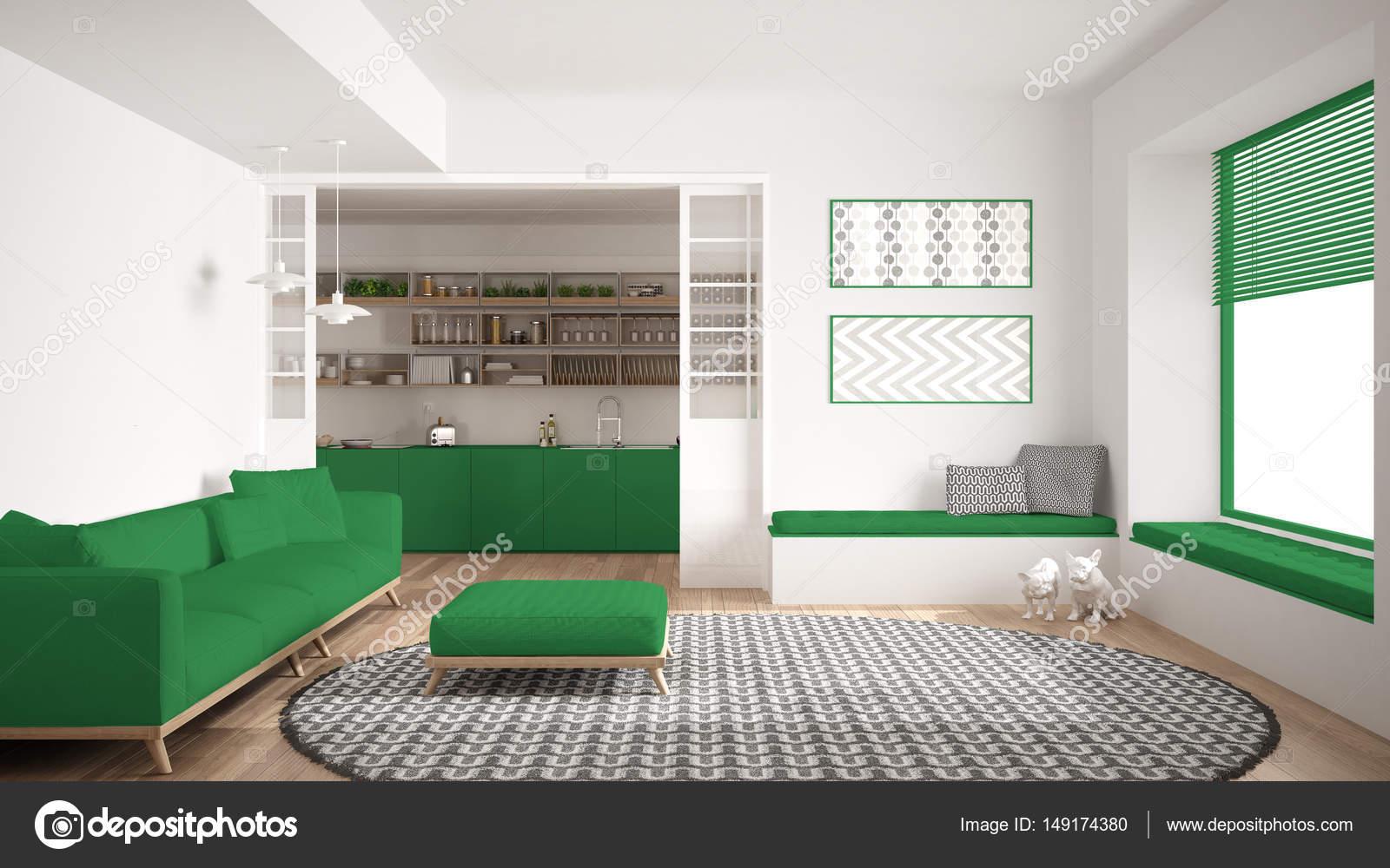 Living minimalista, sala con sofá, grande alfombras y cocina i ...