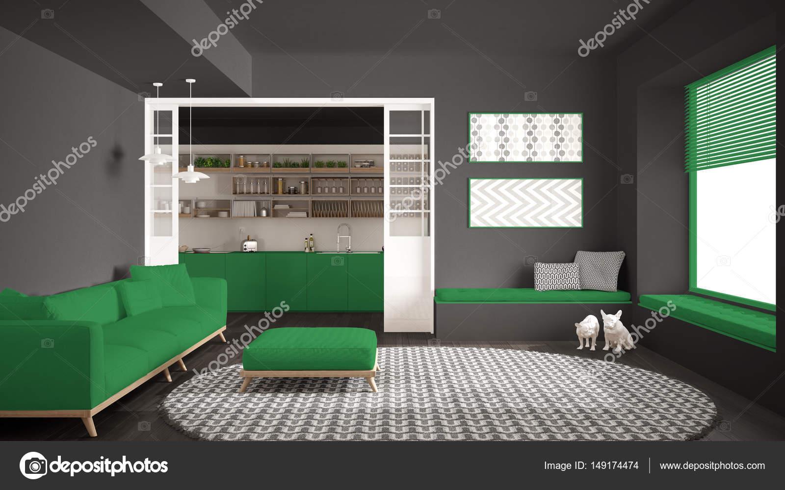 Minimalist Living Room With Sofa, Big Round Carpet And Kitchen I U2014 Stock  Photo