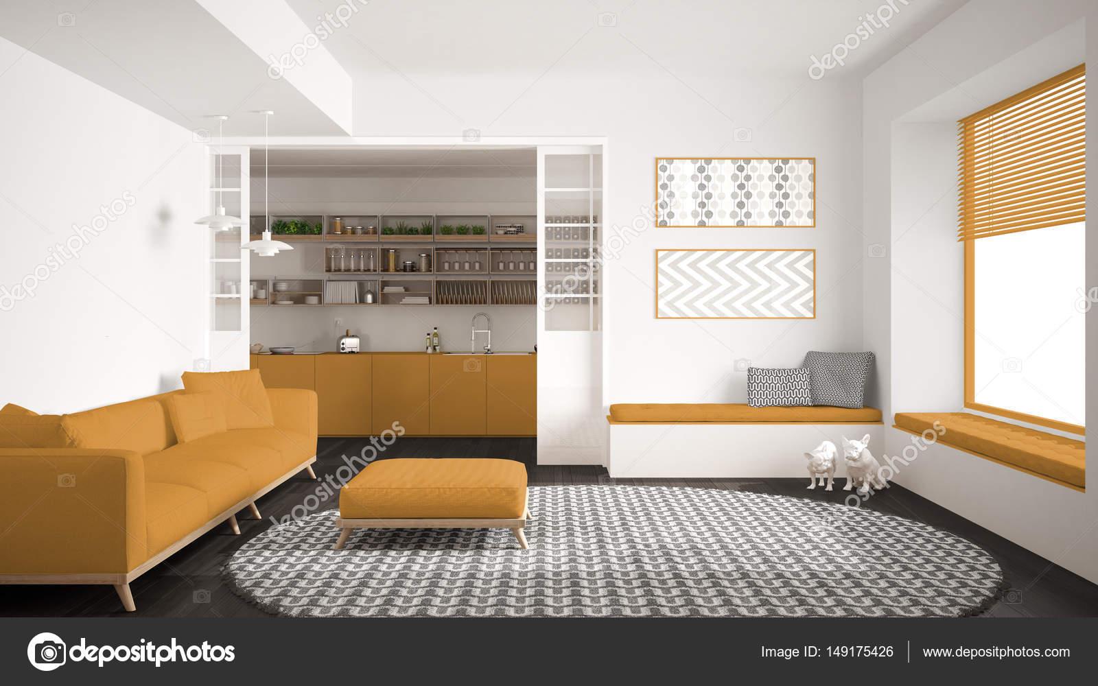 Tapijt Voor Keuken : Minimalistisch leven kamer met sofa grote ronde tapijt en keuken ik