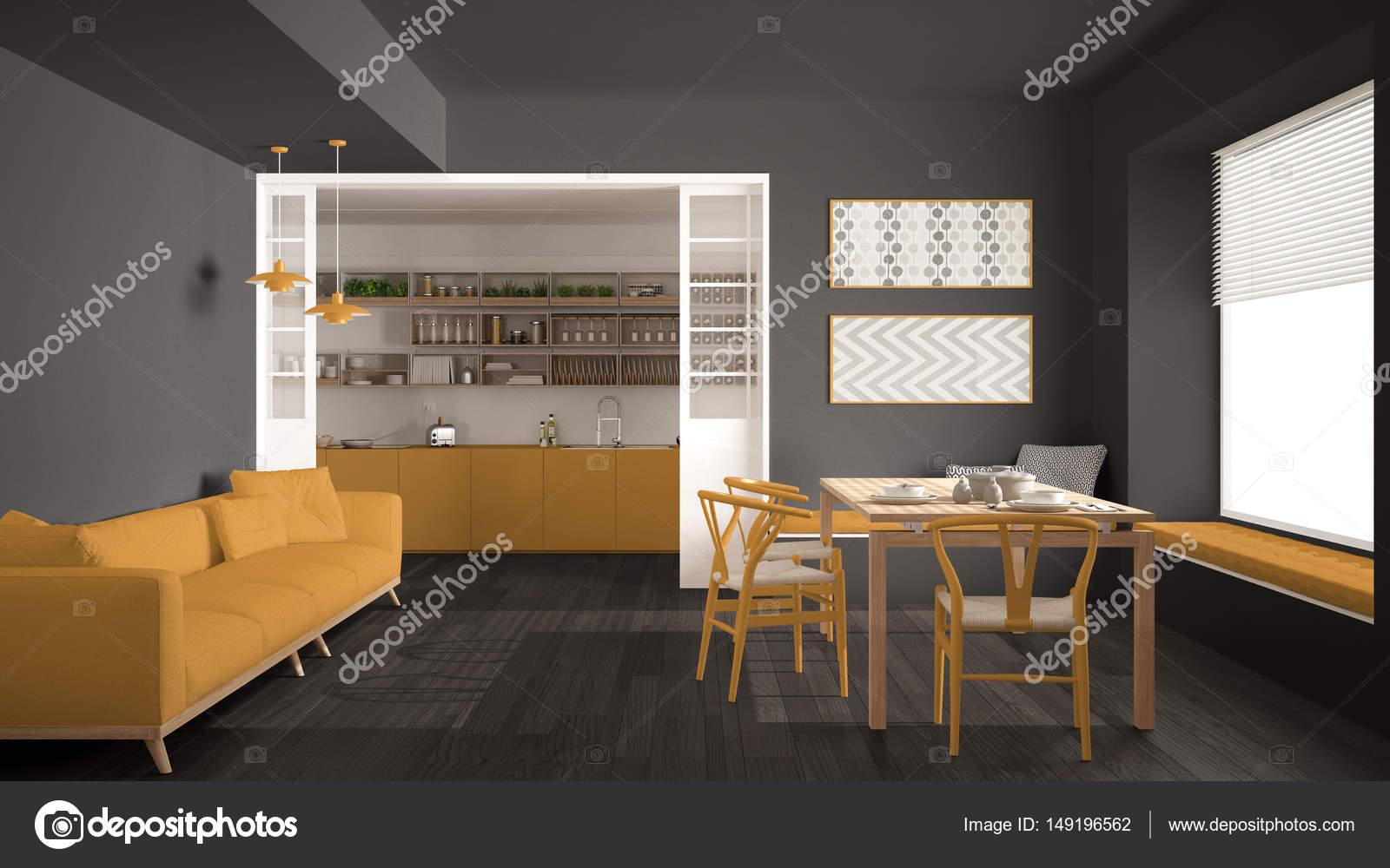 Minimalistische keuken en woonkamer met sofa tafel en stoelen