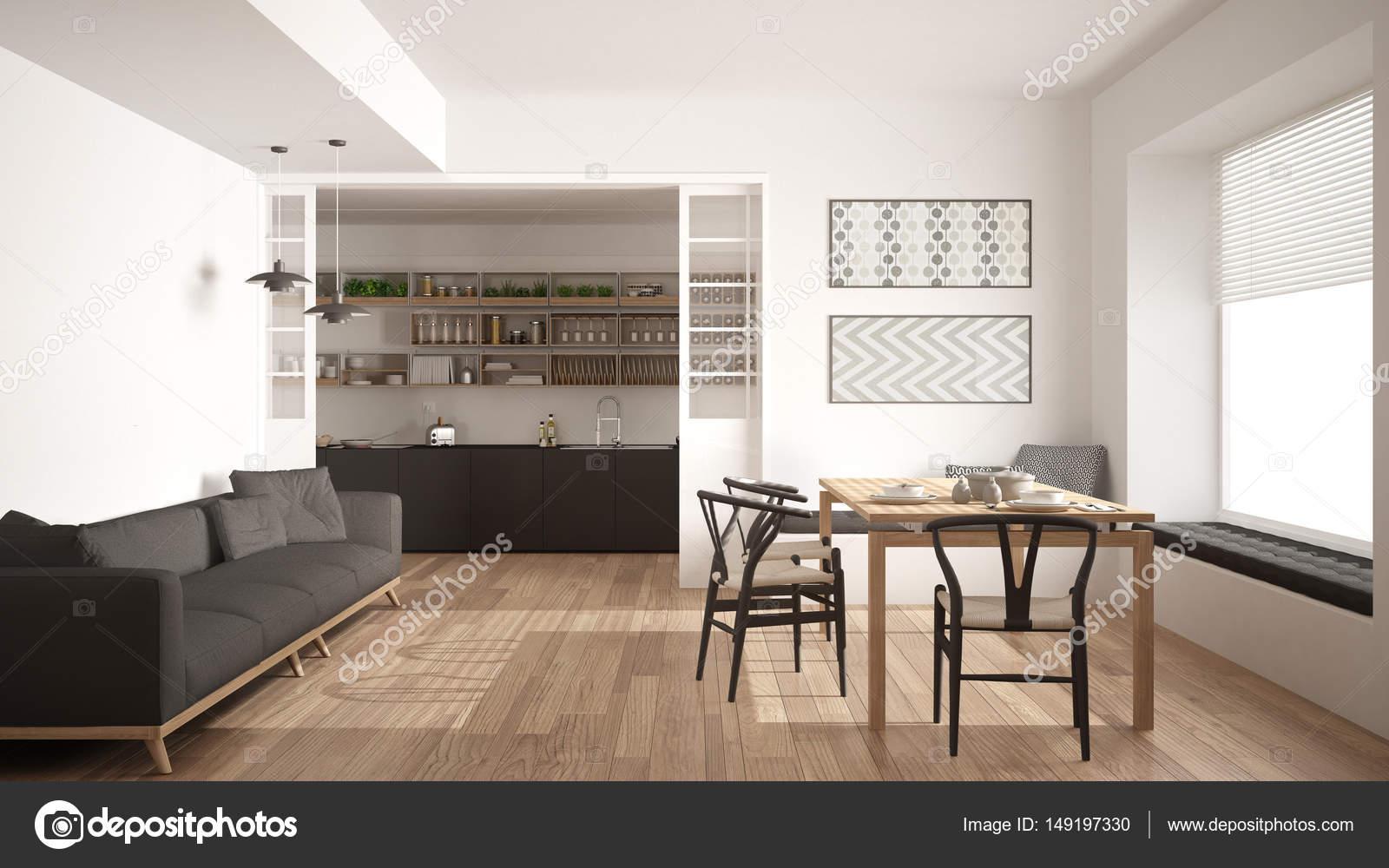 Minimalistische Küche und Wohnzimmer mit Sofa, Tisch und Stühlen ...