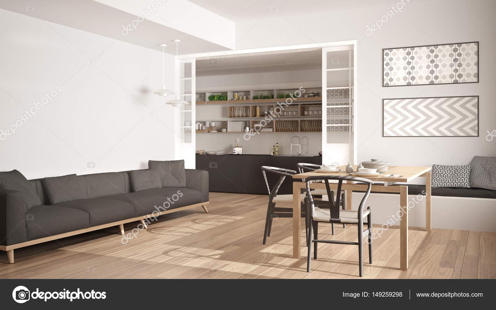 Minimalistische Keuken En Woonkamer Met Sofa Tafel En Stoelen Stockfoto Rechtenvrije Foto Door C Archiviz 149259298