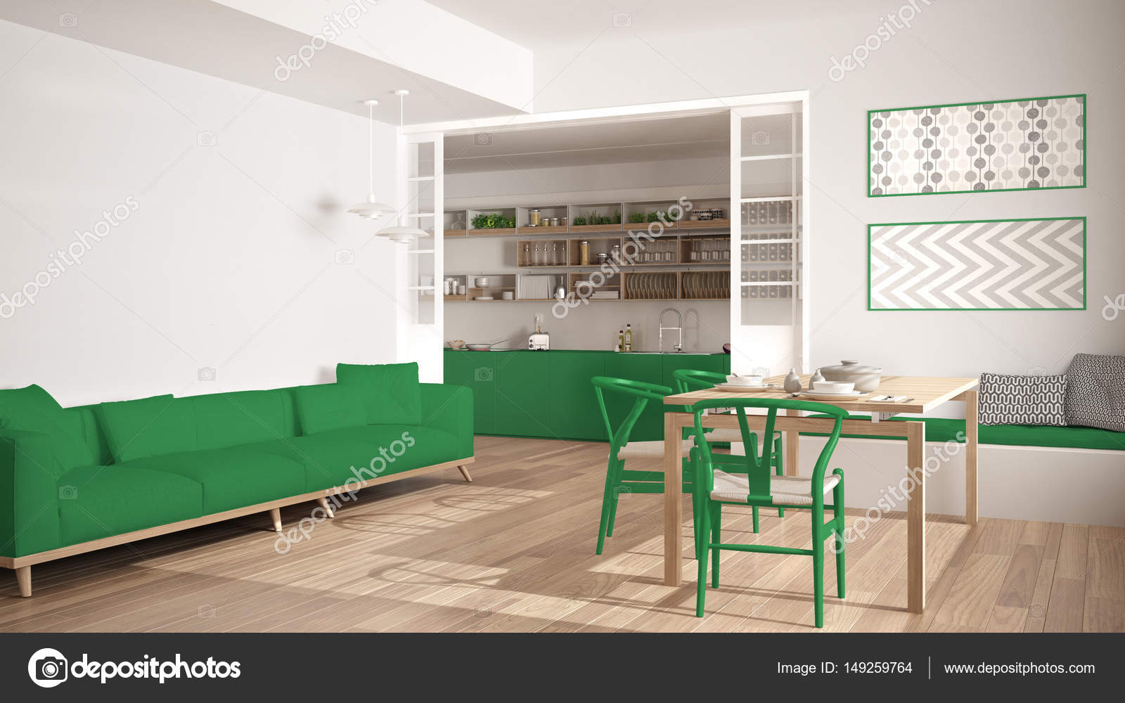 Witte Minimalistische Woonkeuken : Minimalistische keuken en woonkamer met sofa tafel en