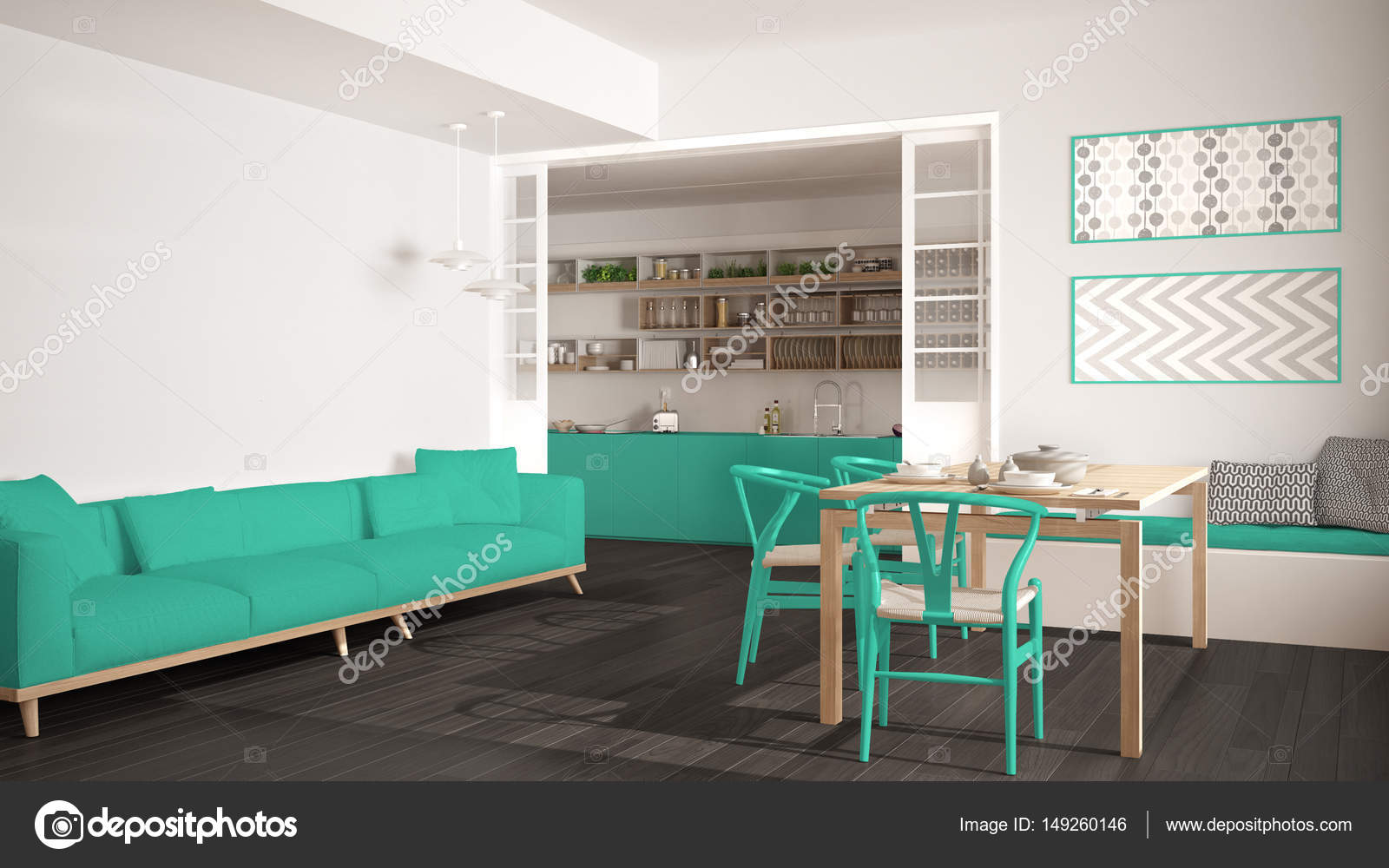 Minimalist kitchen and living room with sofa, table and chairs ...