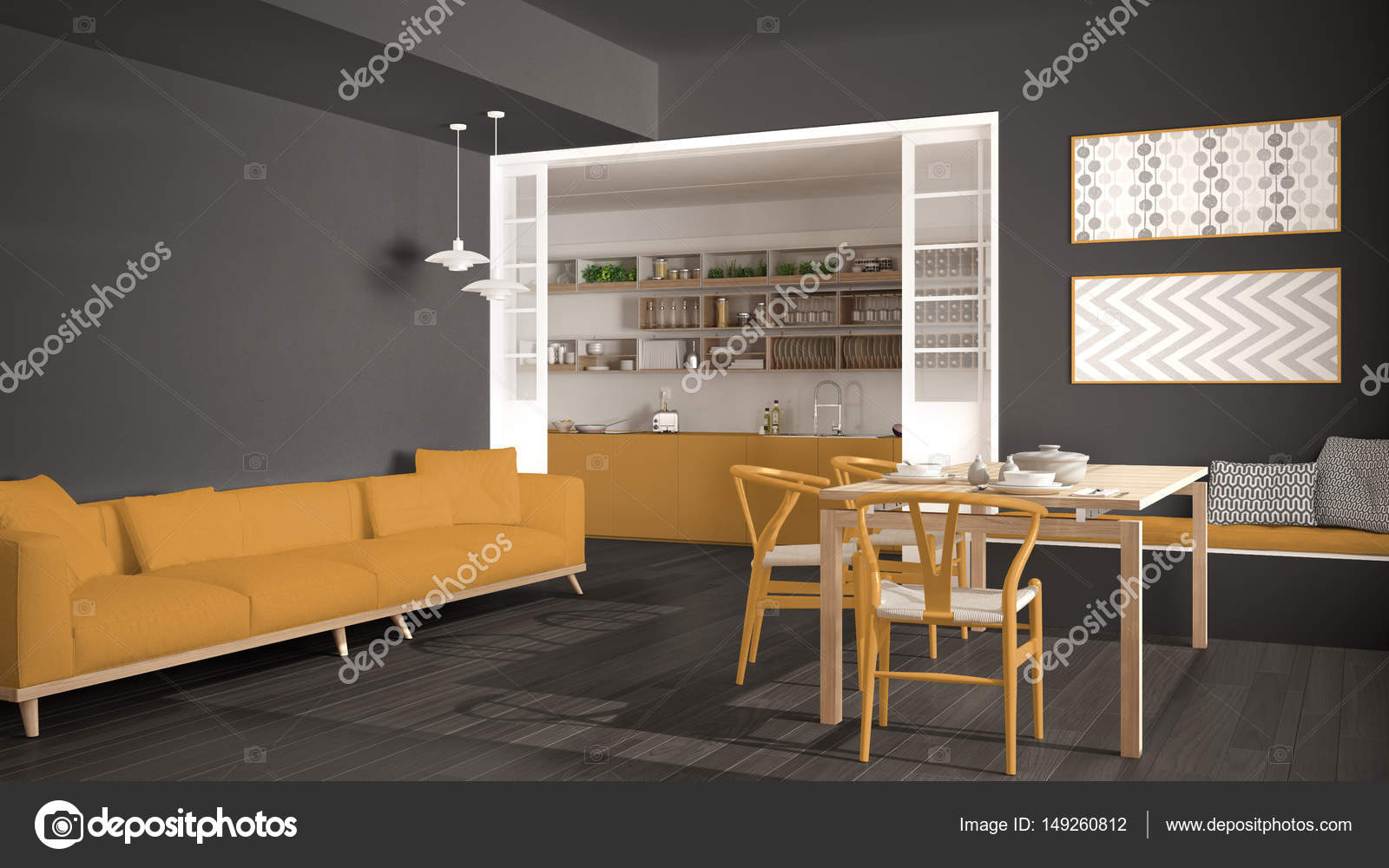 Minimalist Kitchen And Living Room With Sofa, Table And Chairs, U2014 Stock  Photo