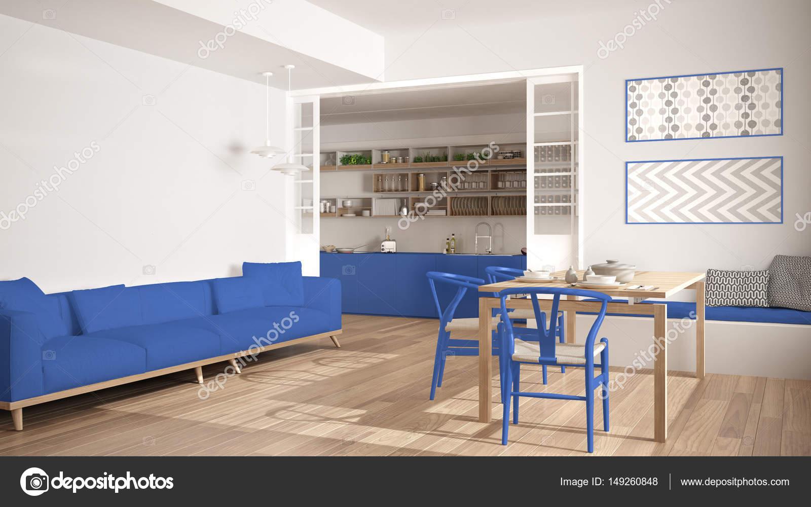 Sedie Blu Cucina : Cucina minimalista e soggiorno con divano tavolo e sedie u foto
