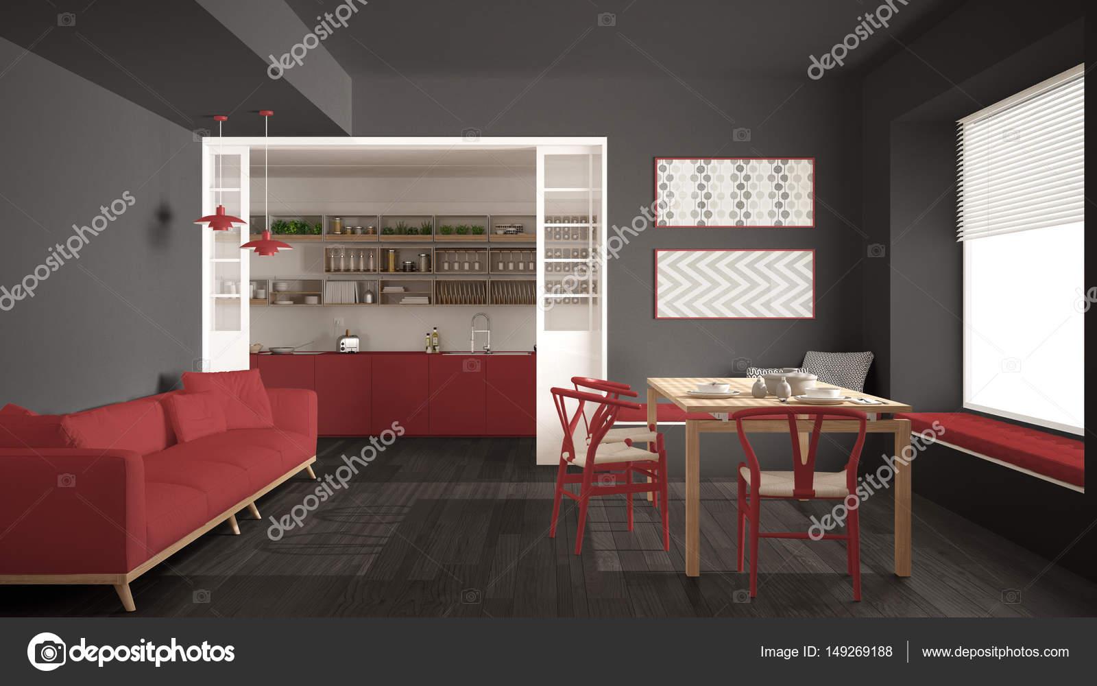 Cozinha Minimalista E Sala De Estar Com Sof Mesa E Cadeiras  -> Sala Em Cinza E Vermelho