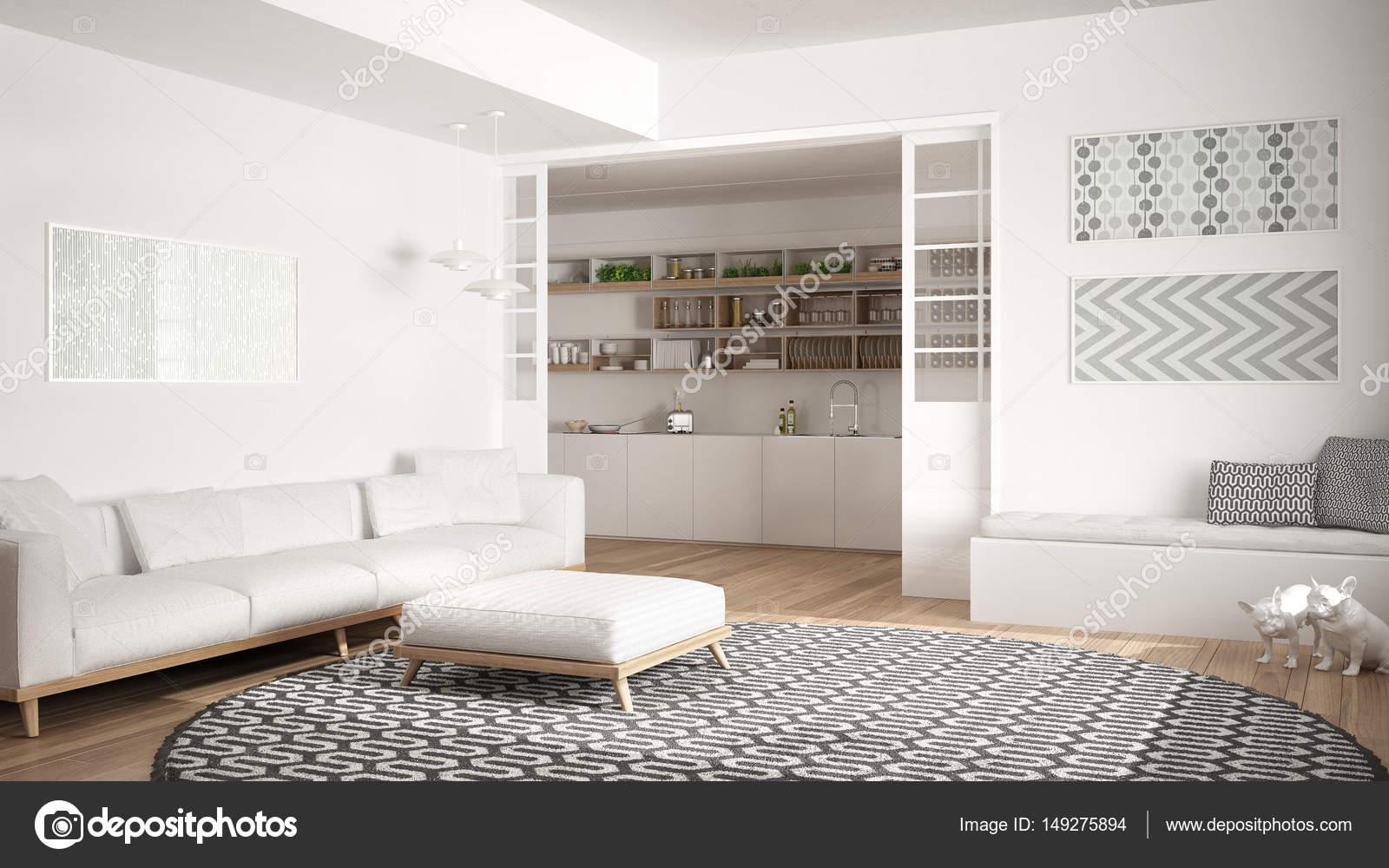 Minimalistisch Wohnen Zimmer mit Sofa, großer runder Teppich und ...