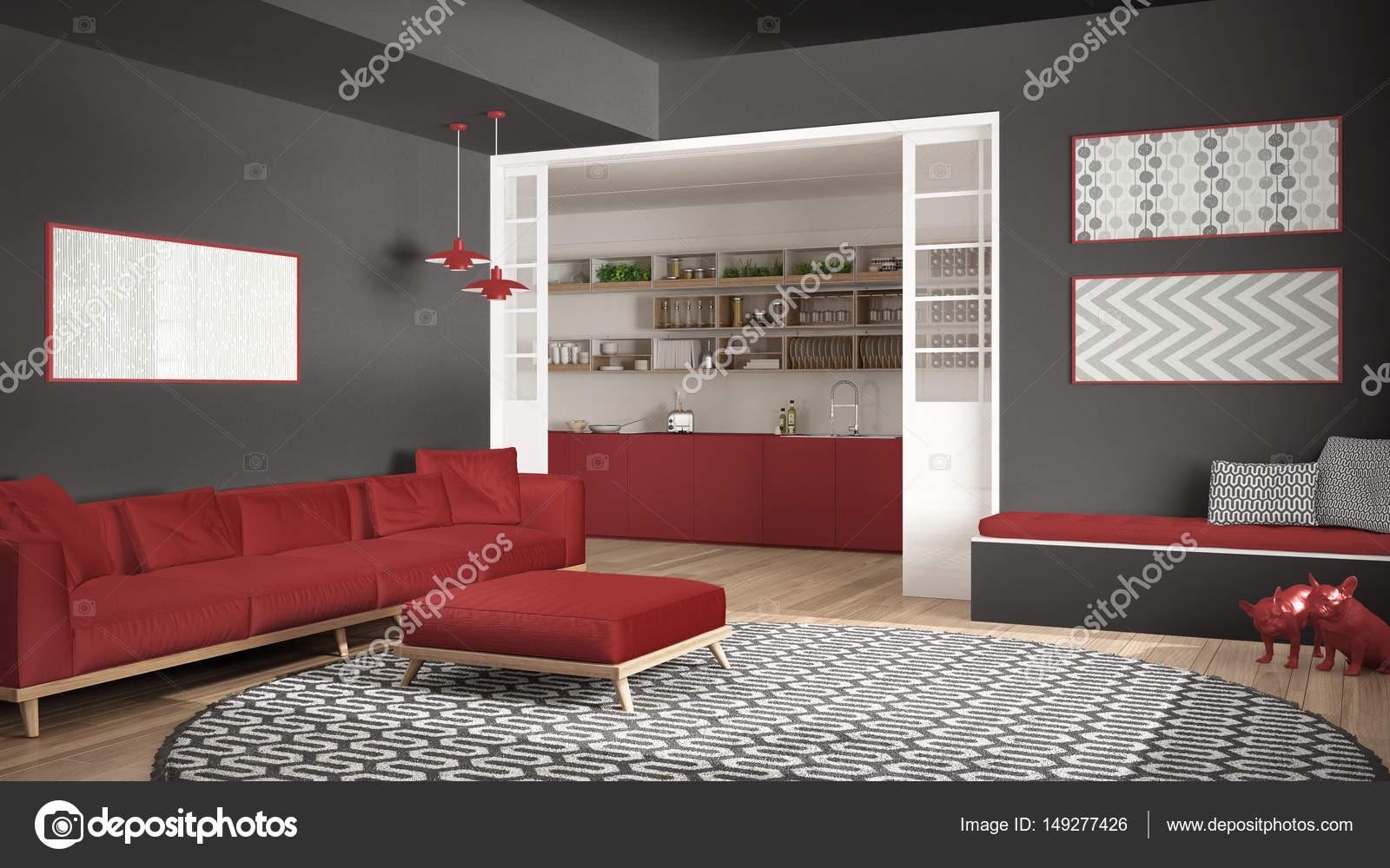 minimalistisch wohnen zimmer mit sofa gro er runder teppich und k che i stockfoto archiviz. Black Bedroom Furniture Sets. Home Design Ideas