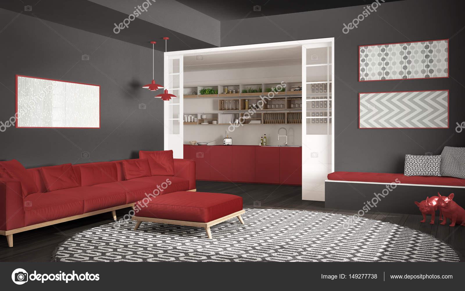 Minimalista De Sala De Estar Com Sof Grande Redondo Tapete E Cozinha No  Fundo Cinza E Vermelho Moderno Interior Design U Foto De Archiviz With  Tapete Para ...