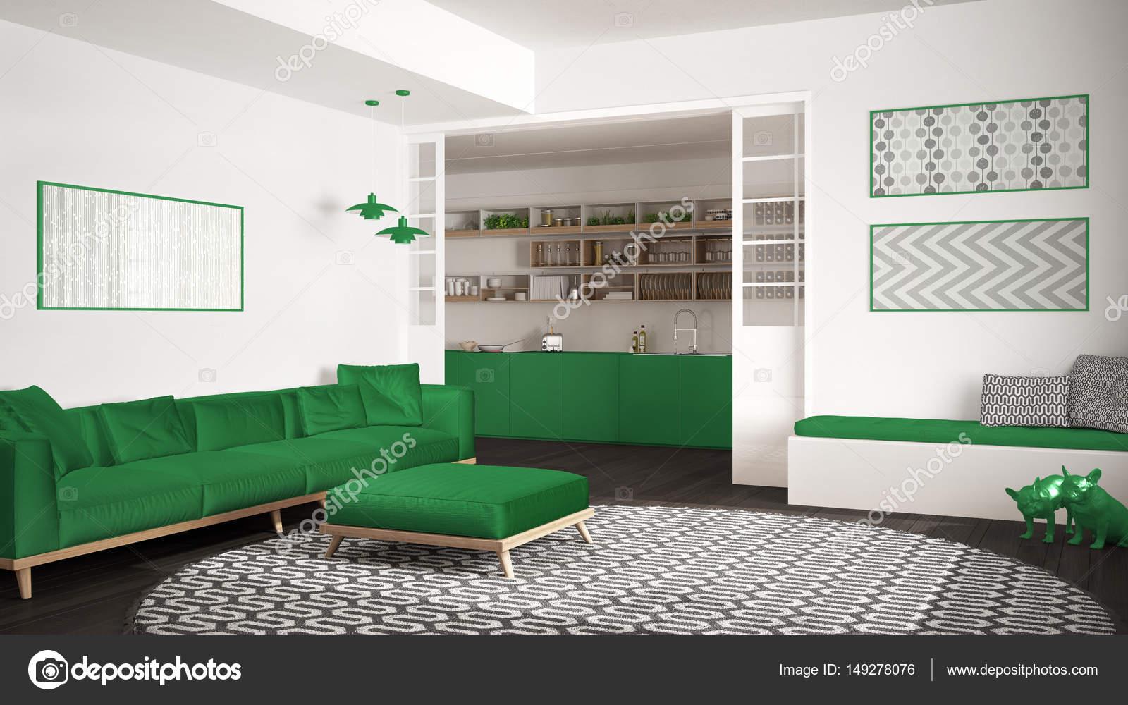 Minimalistisch leven kamer met sofa grote ronde tapijt en keuken
