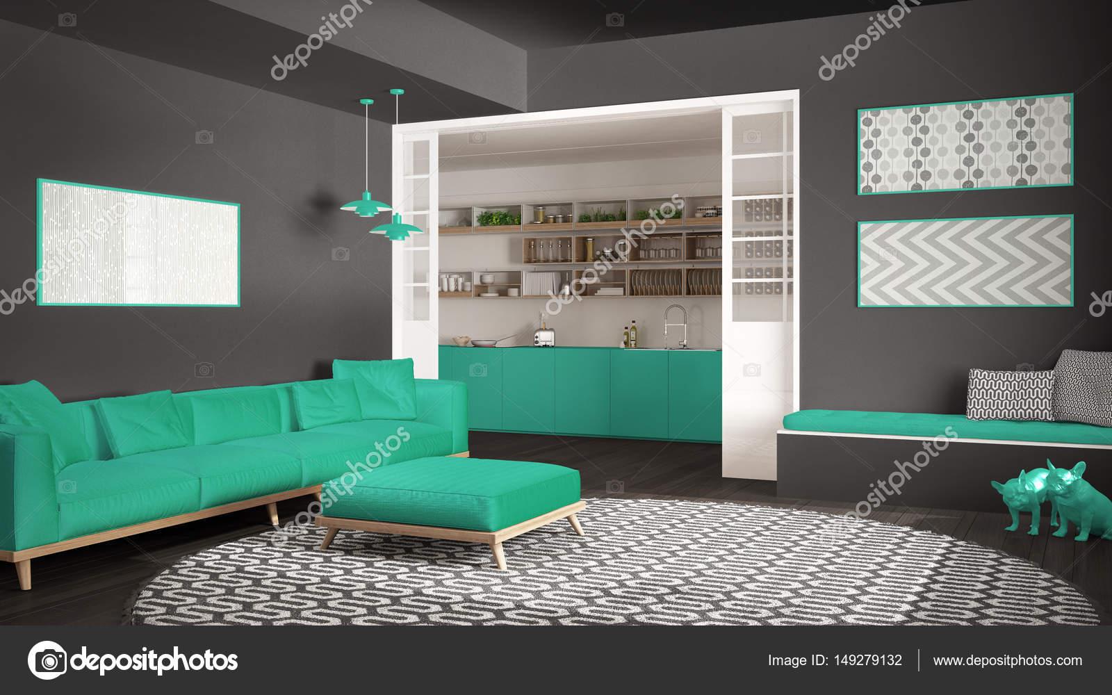 Minimalist living room with sofa, big round carpet and kitchen i ...
