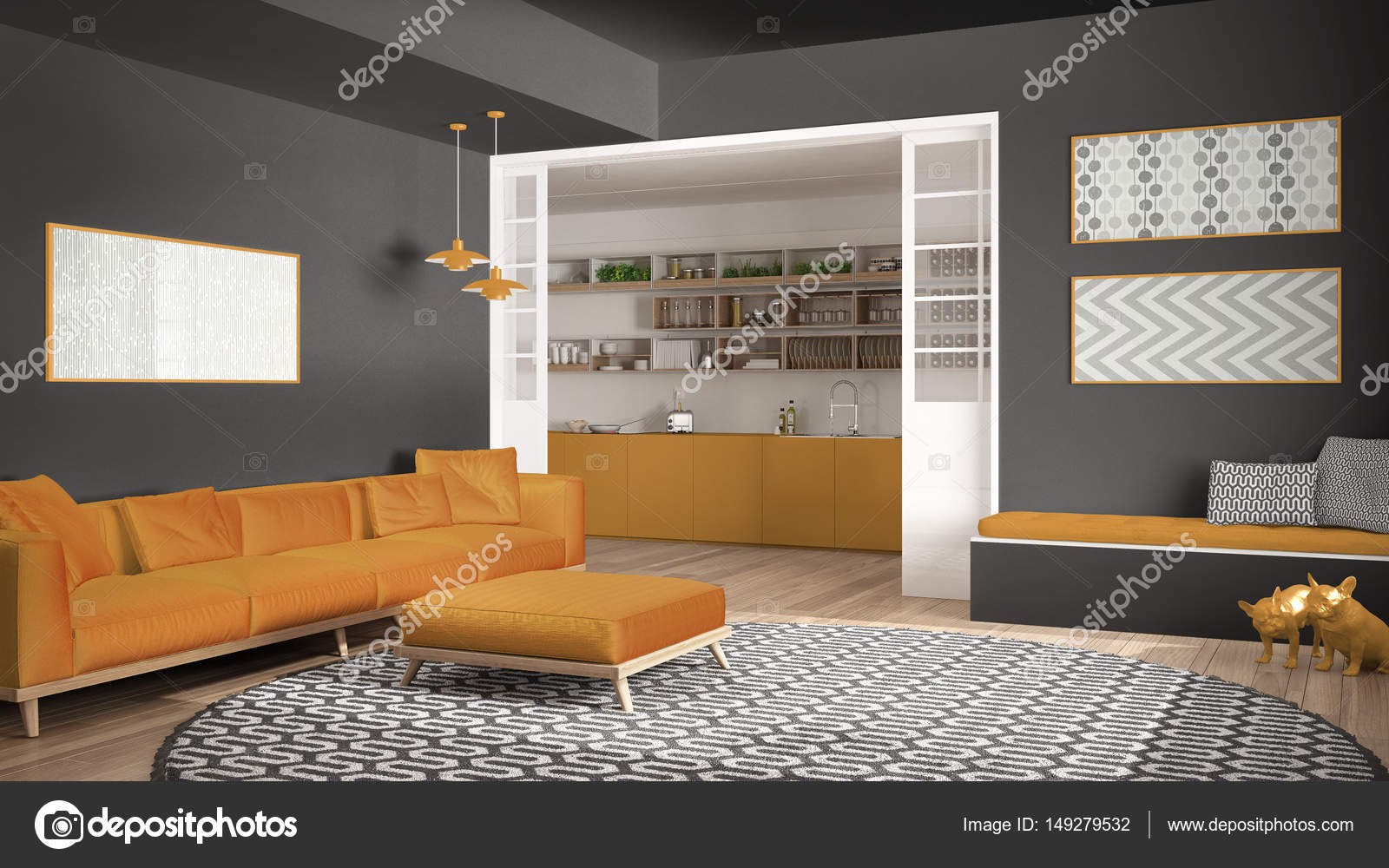 Minimalistisk bor rum med soffa, stor rund matta och kök jag ...