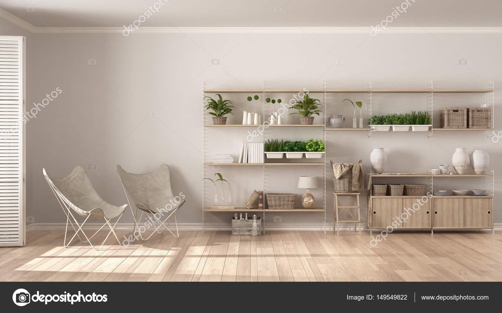 eco interieur met houten boekenkast diy verticale tuin s stockfoto
